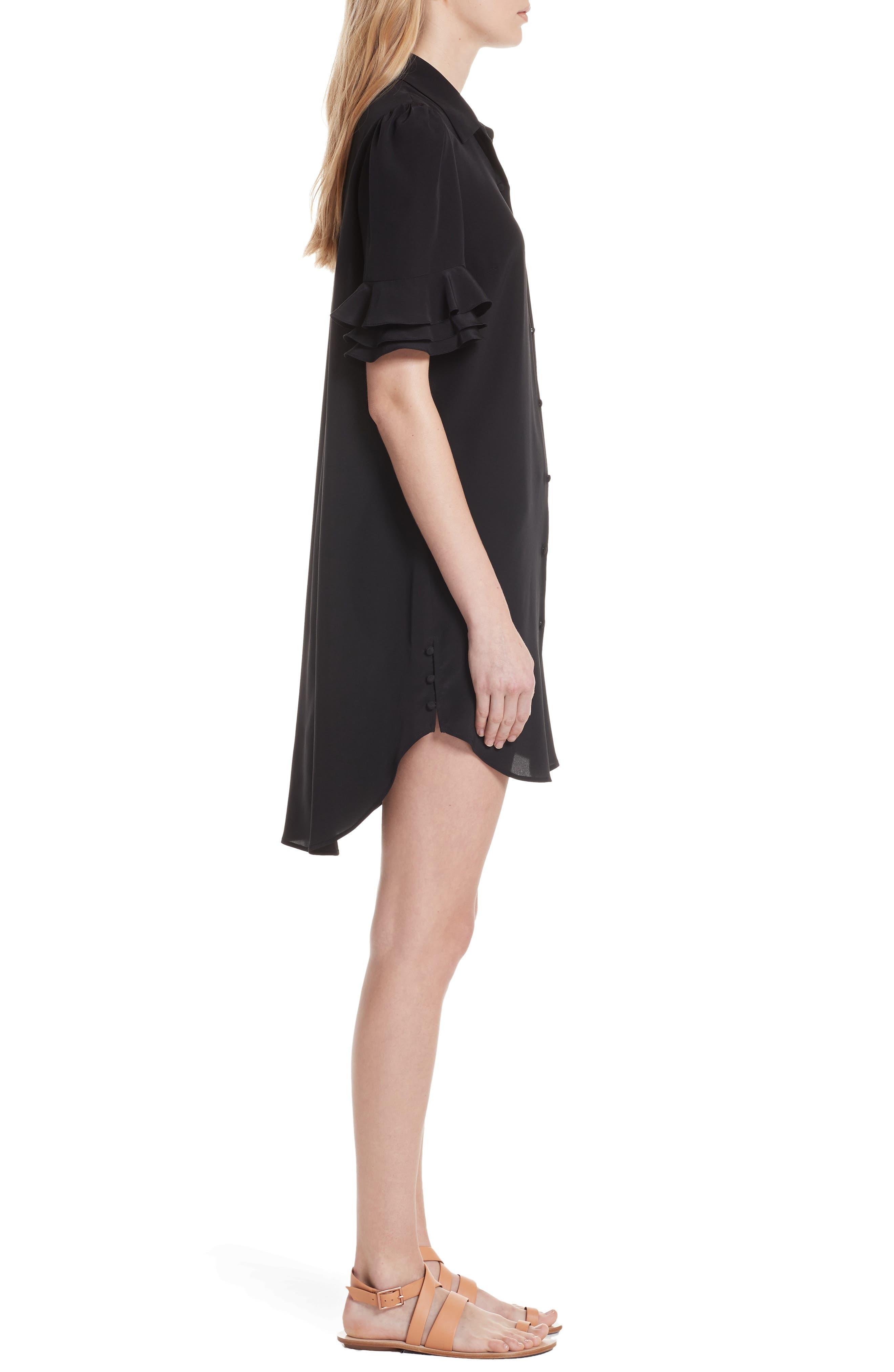 Ruffle Sleeve Silk Dress,                             Alternate thumbnail 3, color,                             001
