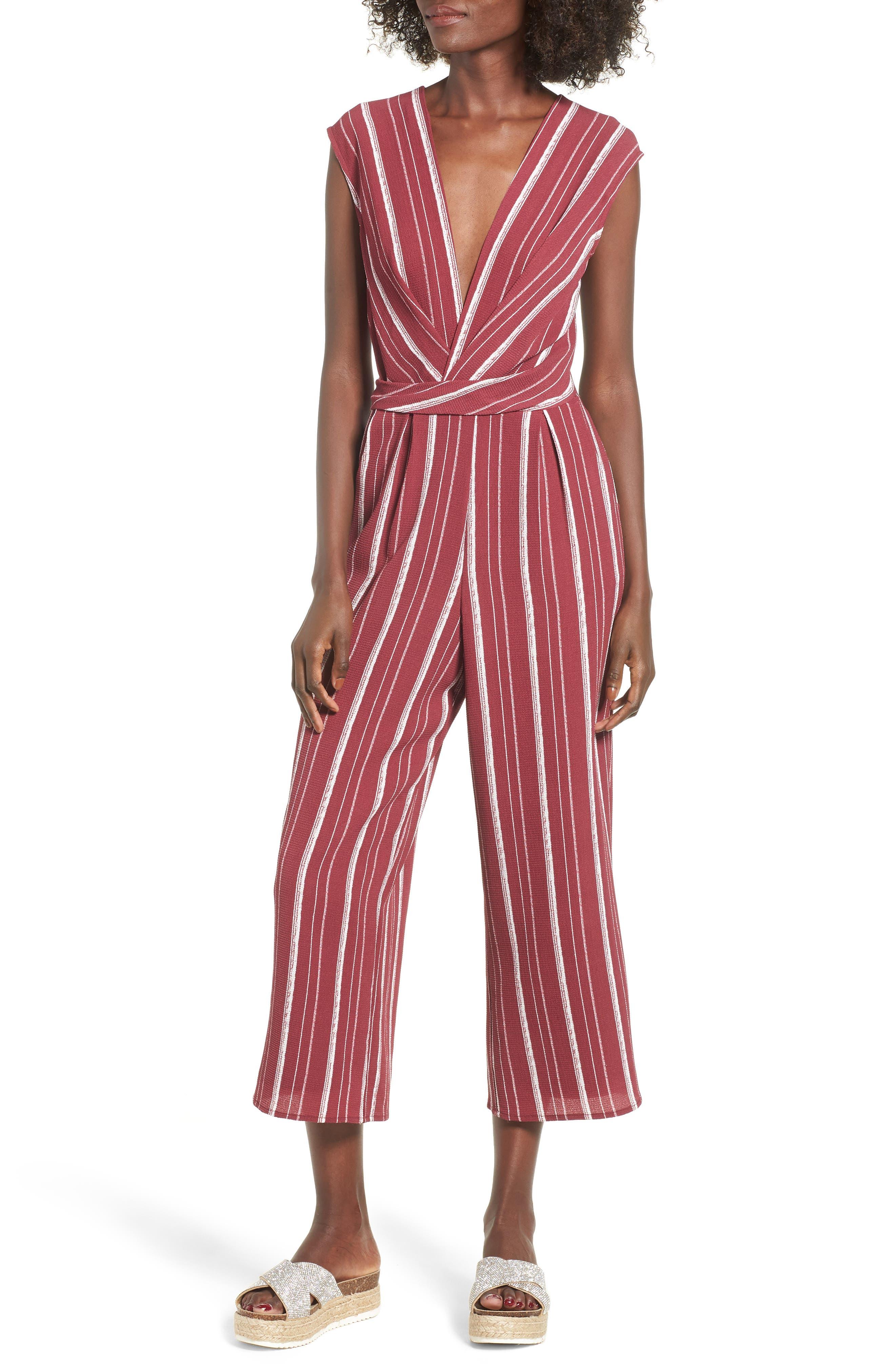 Stripe Jumpsuit,                             Main thumbnail 1, color,                             WINE