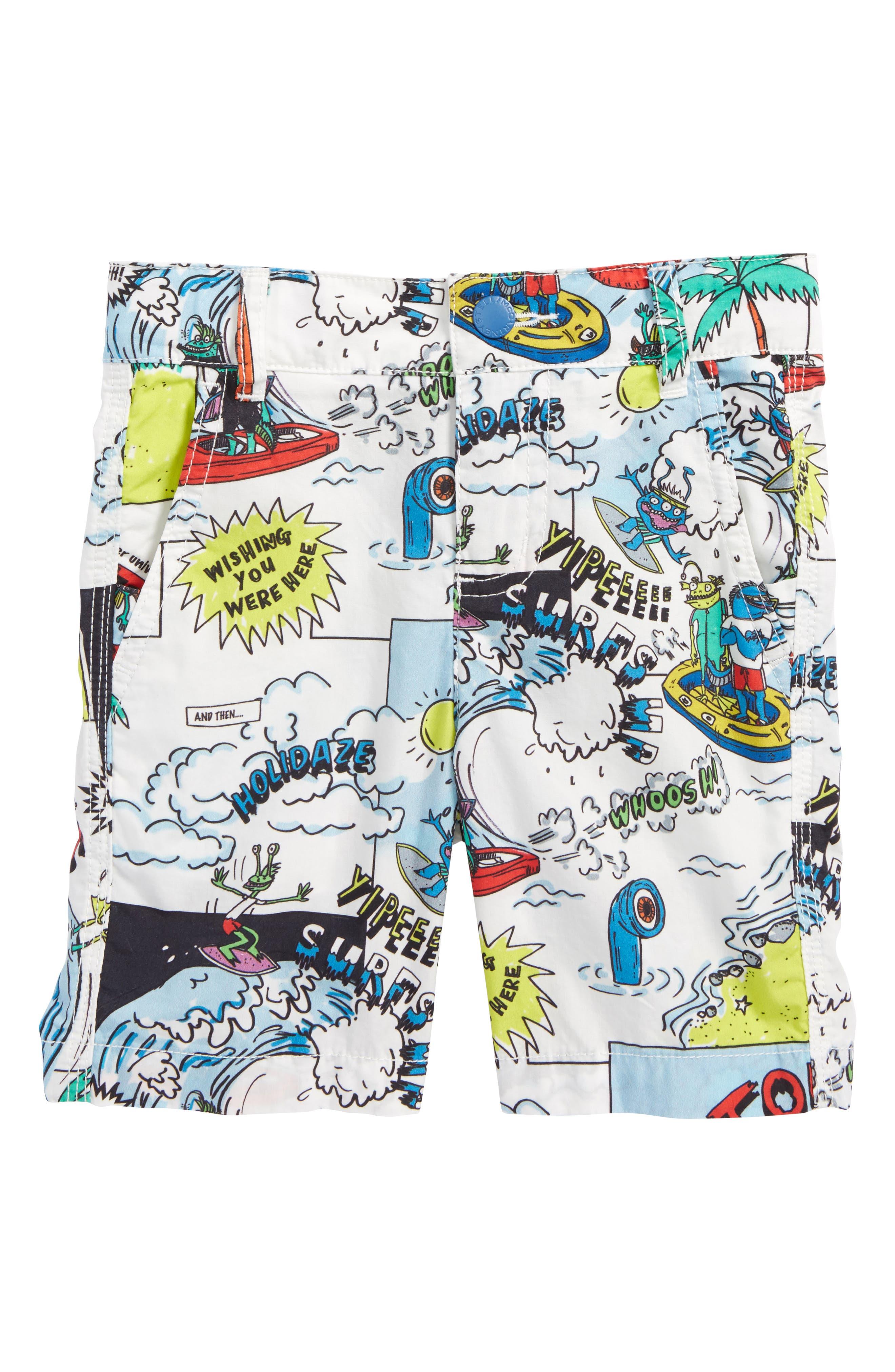 Lucas Cartoon Print Shorts,                             Main thumbnail 1, color,                             160