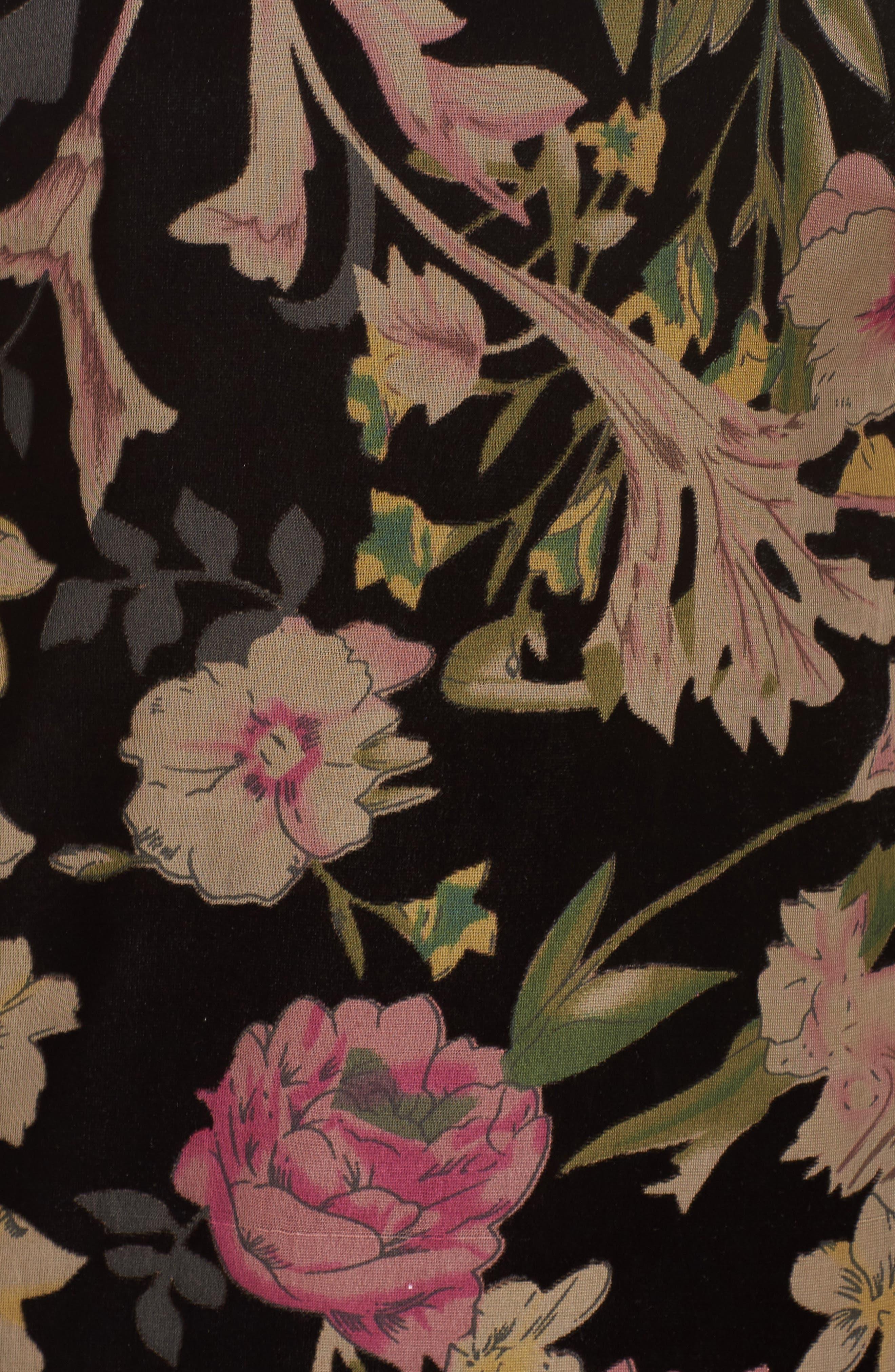 Floral Print Velvet Shift Dress,                             Alternate thumbnail 6, color,                             BLACK