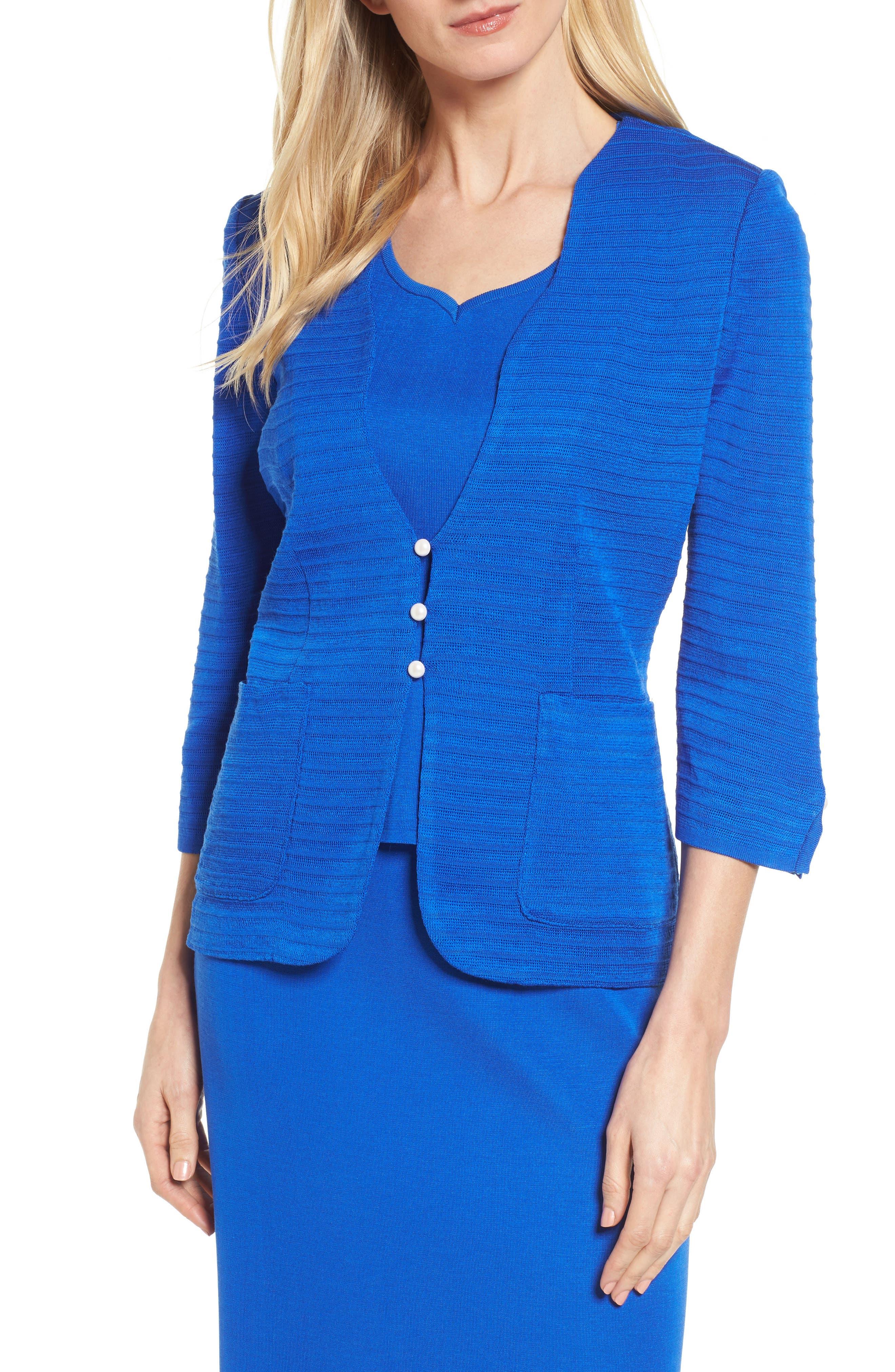 Textured Three Quarter Sleeve Jacket,                         Main,                         color, PATRIOT BLUE