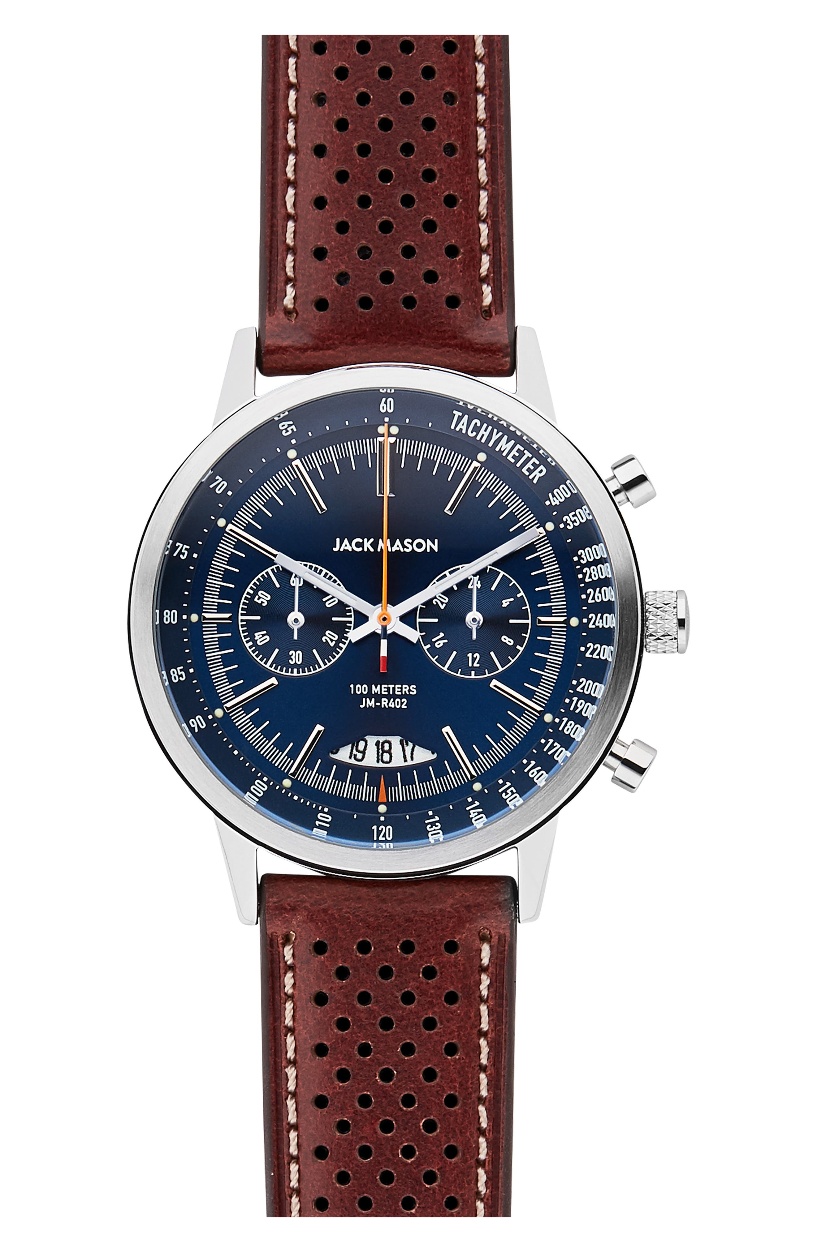 Racing Chronograph Leather Strap Watch, 40mm, Main, color, BLUE