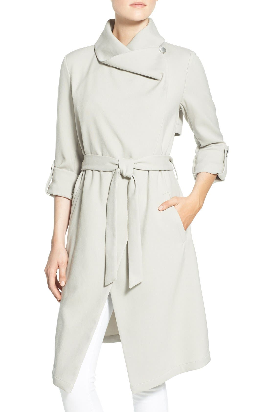 Roll Sleeve Drape Front Long Trench Coat,                             Alternate thumbnail 22, color,