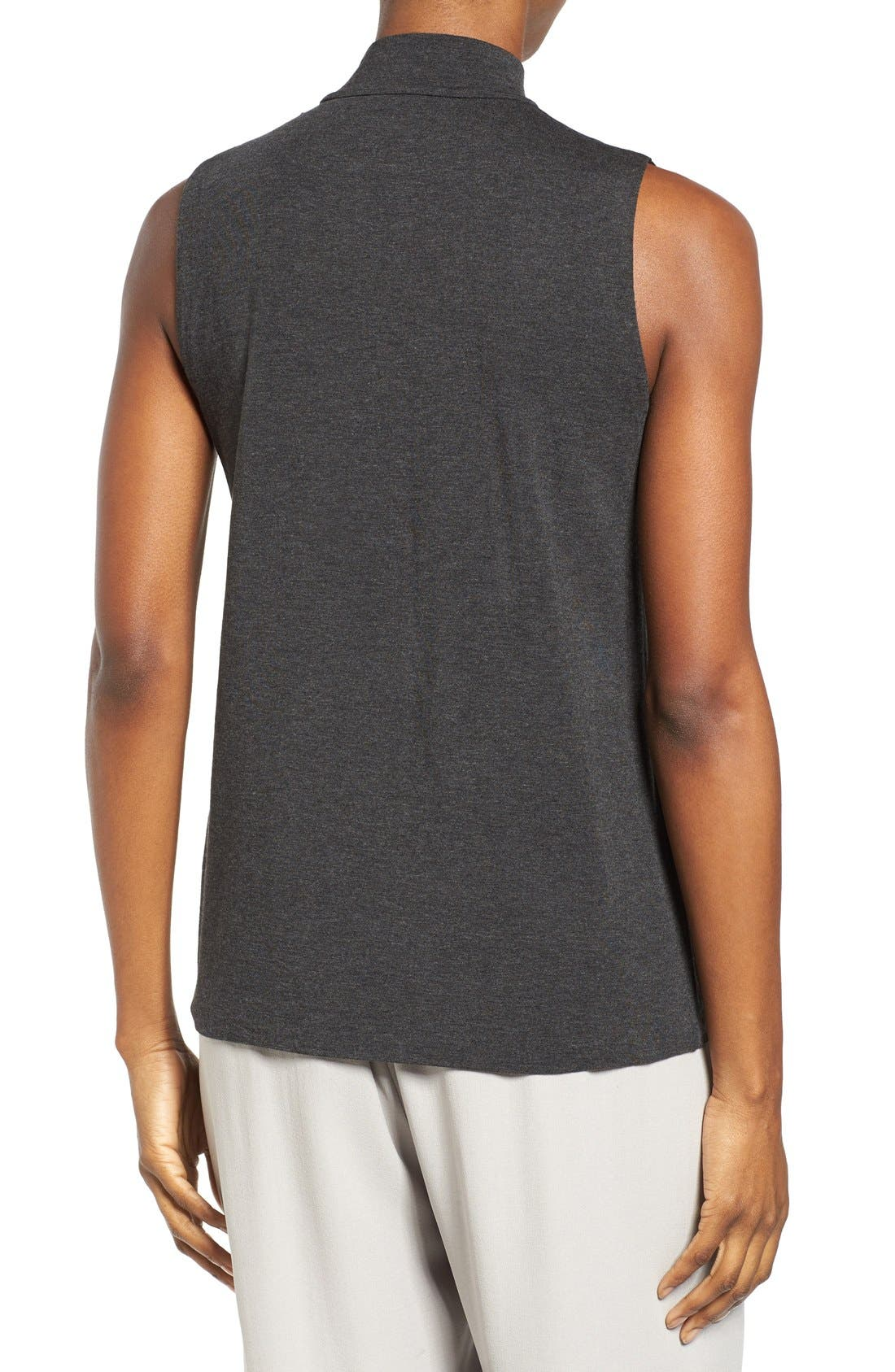 EILEEN FISHER,                             Lightweight Tencel<sup>®</sup> Lyocell Stretch Jersey Top,                             Alternate thumbnail 2, color,                             001
