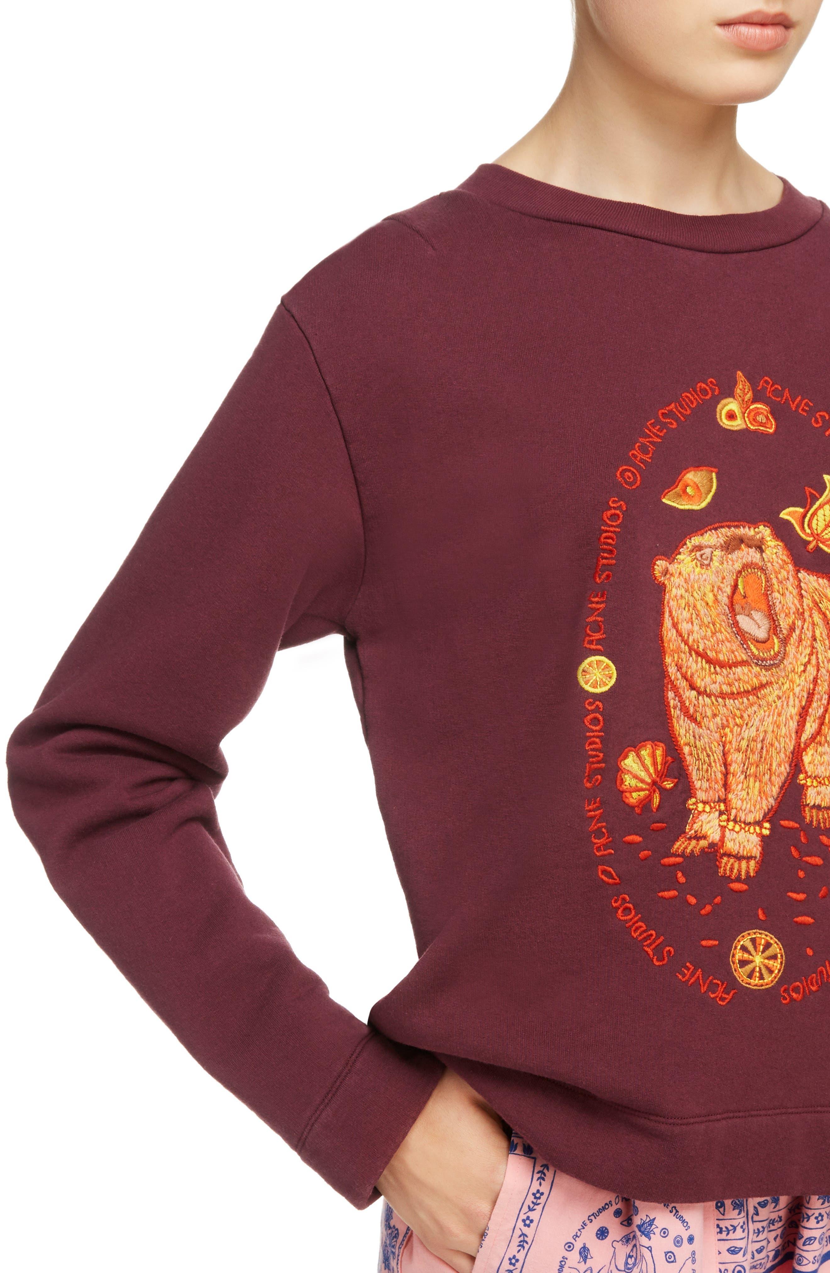 Oslavi Embroidered Bear Sweatshirt,                             Alternate thumbnail 4, color,