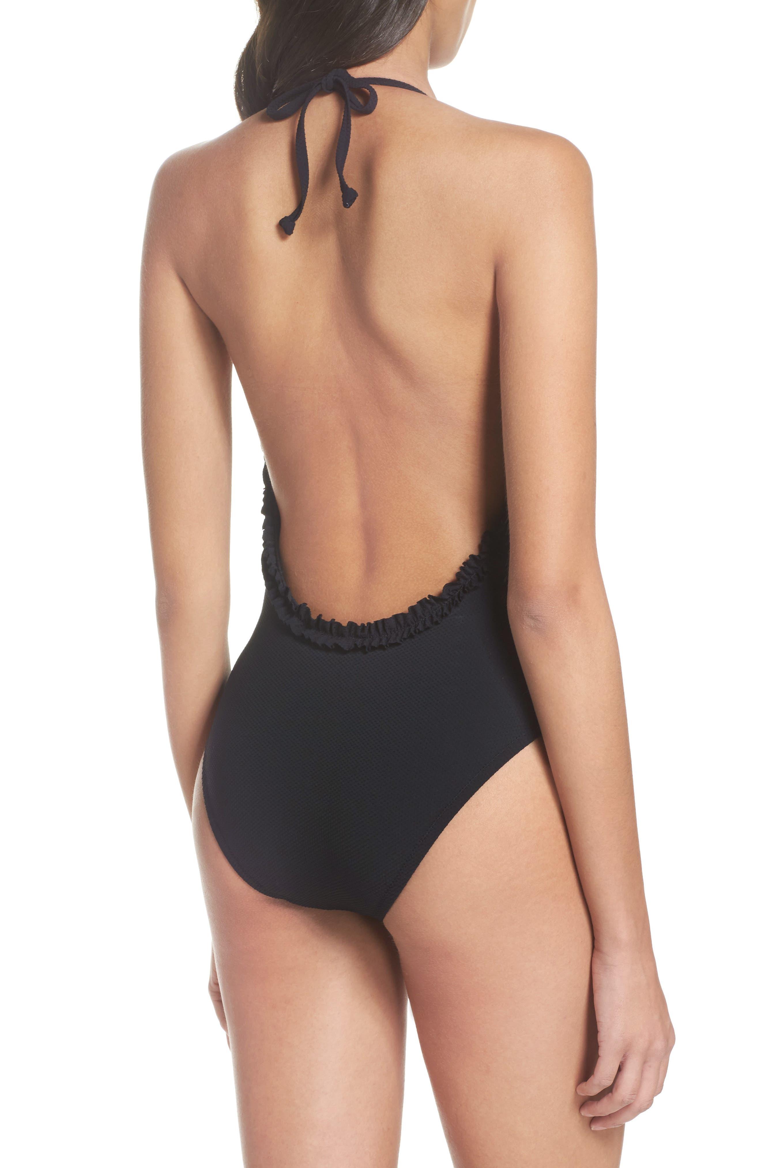 Piqué Ruffle Halter One-Piece Swimsuit,                             Alternate thumbnail 2, color,                             007