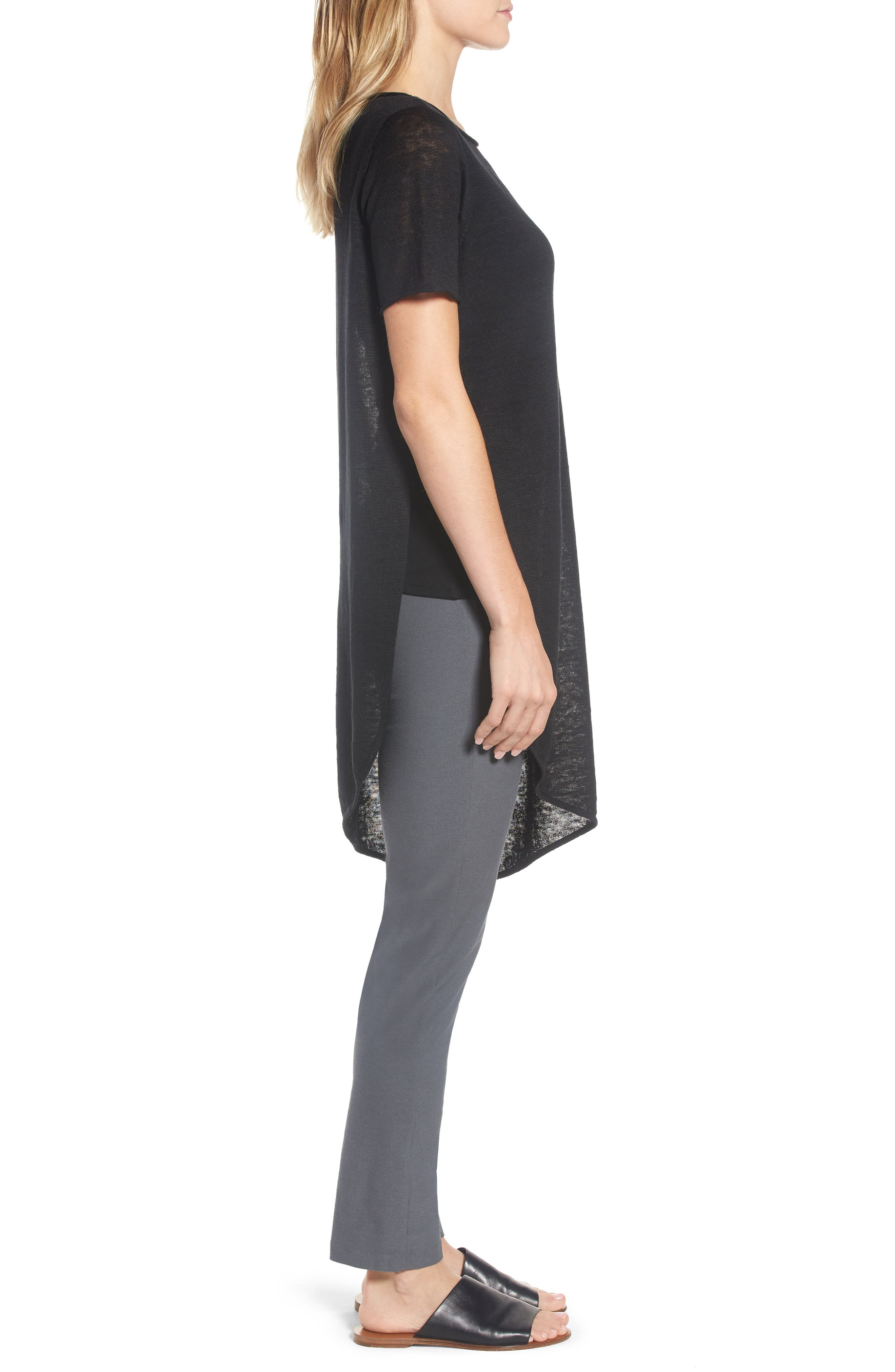 Asymmetrical Organic Linen Tunic,                             Alternate thumbnail 3, color,                             001