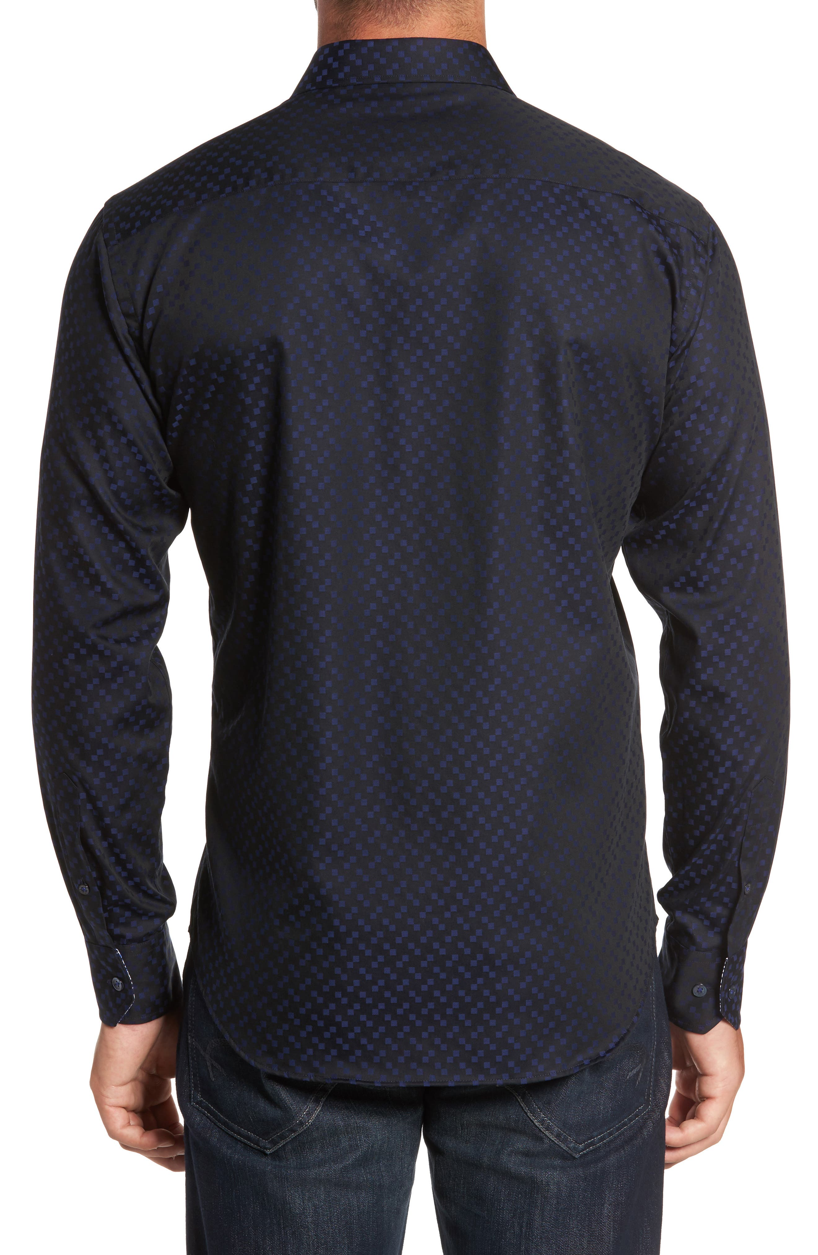 Trim Fit Geo Jacquard Sport Shirt,                             Alternate thumbnail 2, color,                             410