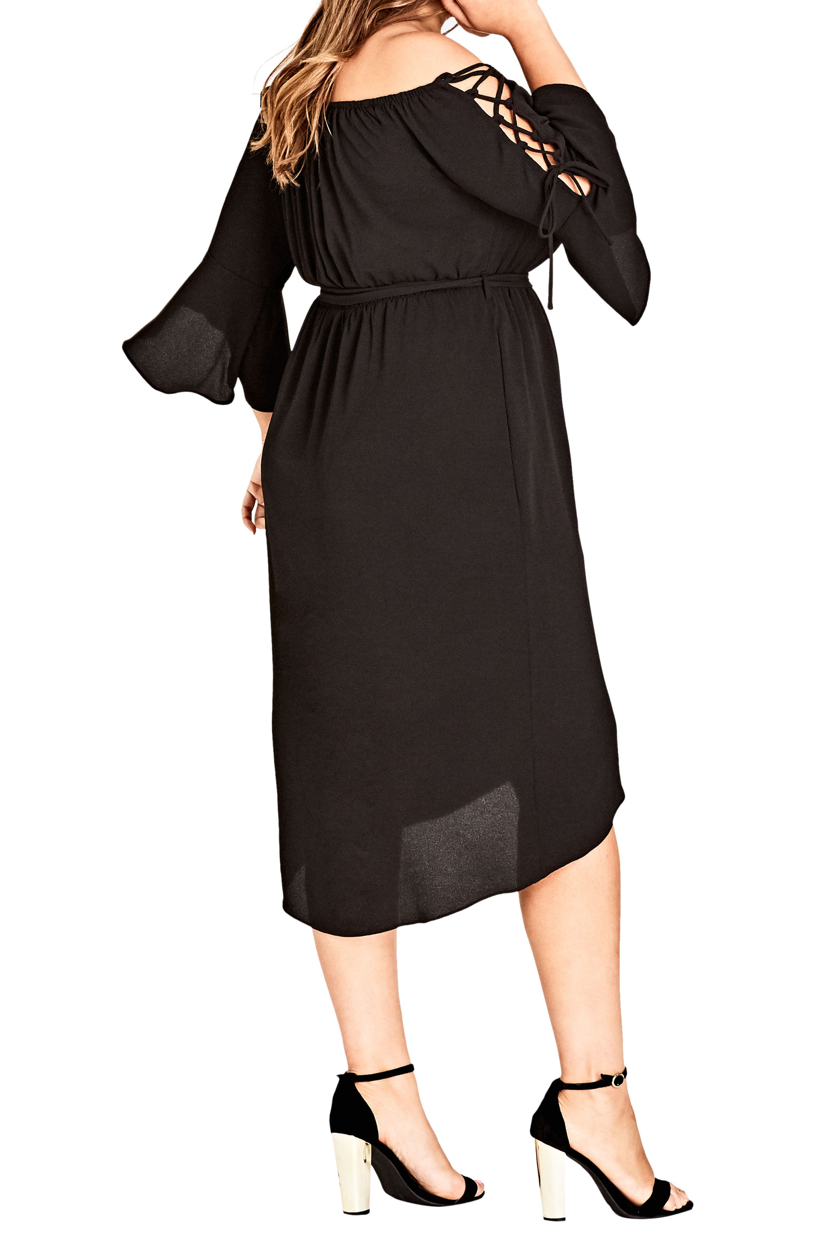 Lace Bell Sleeve Off the Shoulder Midi Dress,                             Alternate thumbnail 2, color,                             BLACK