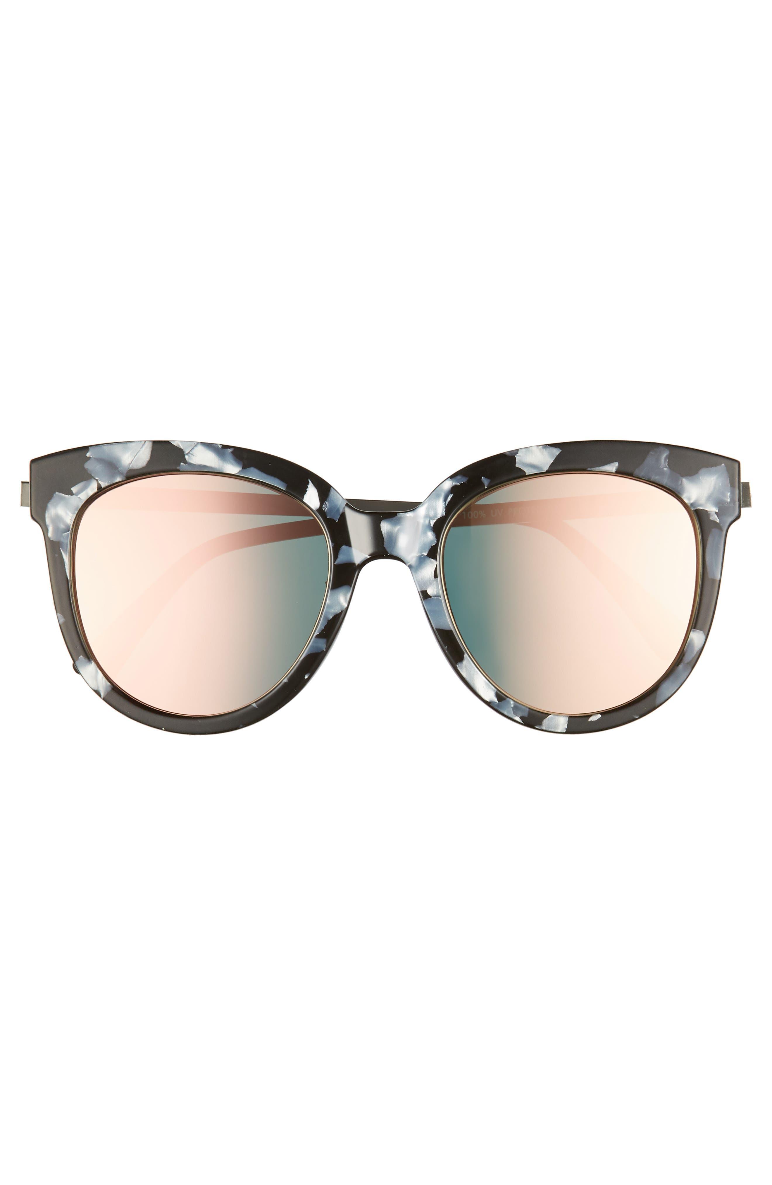 50mm Flat Cat Eye Sunglasses,                             Alternate thumbnail 3, color,                             BLACK ACIDE PINK