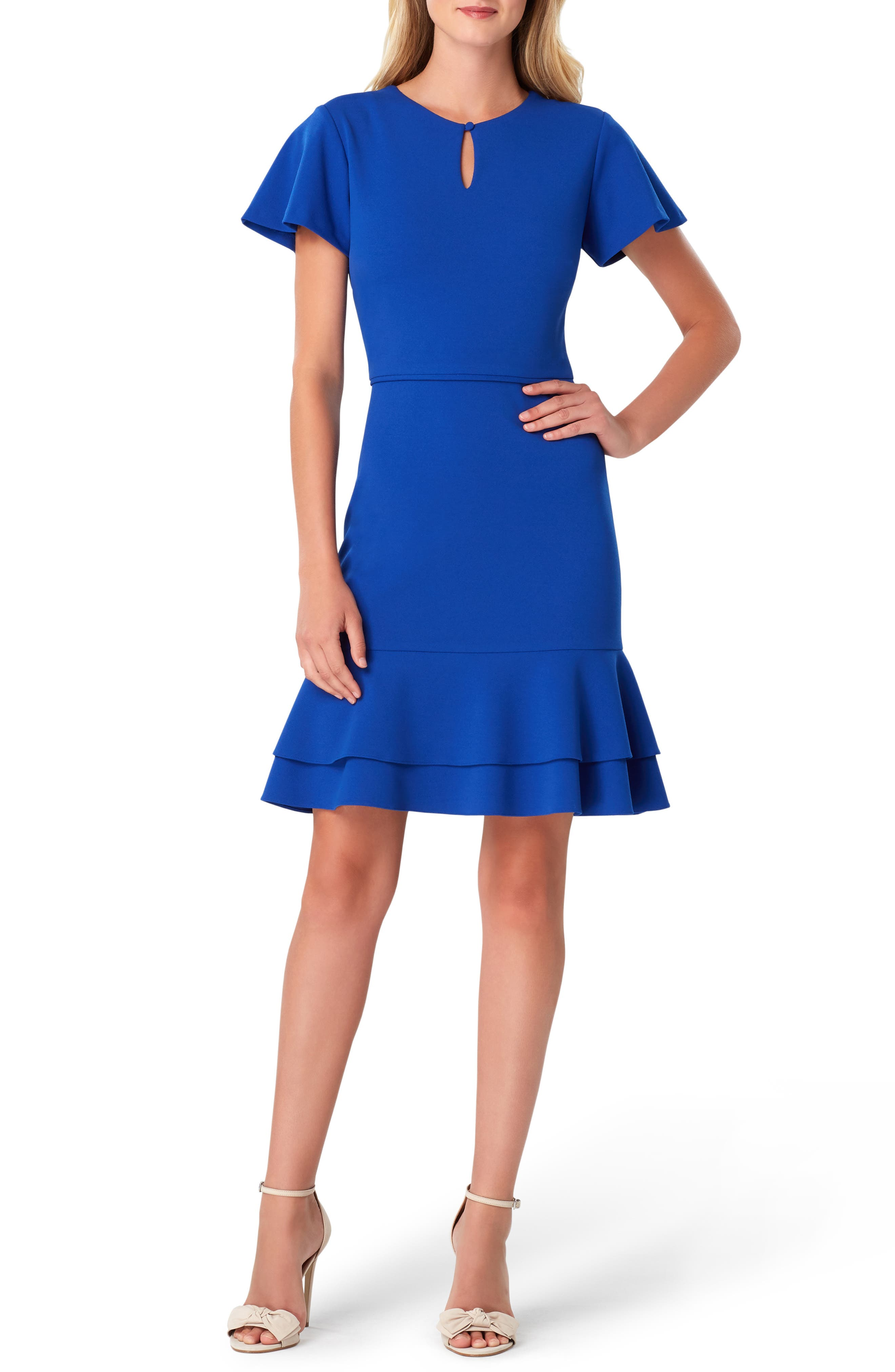 Tahari Keyhole Scuba Crepe Fit & Flare Dress, Blue