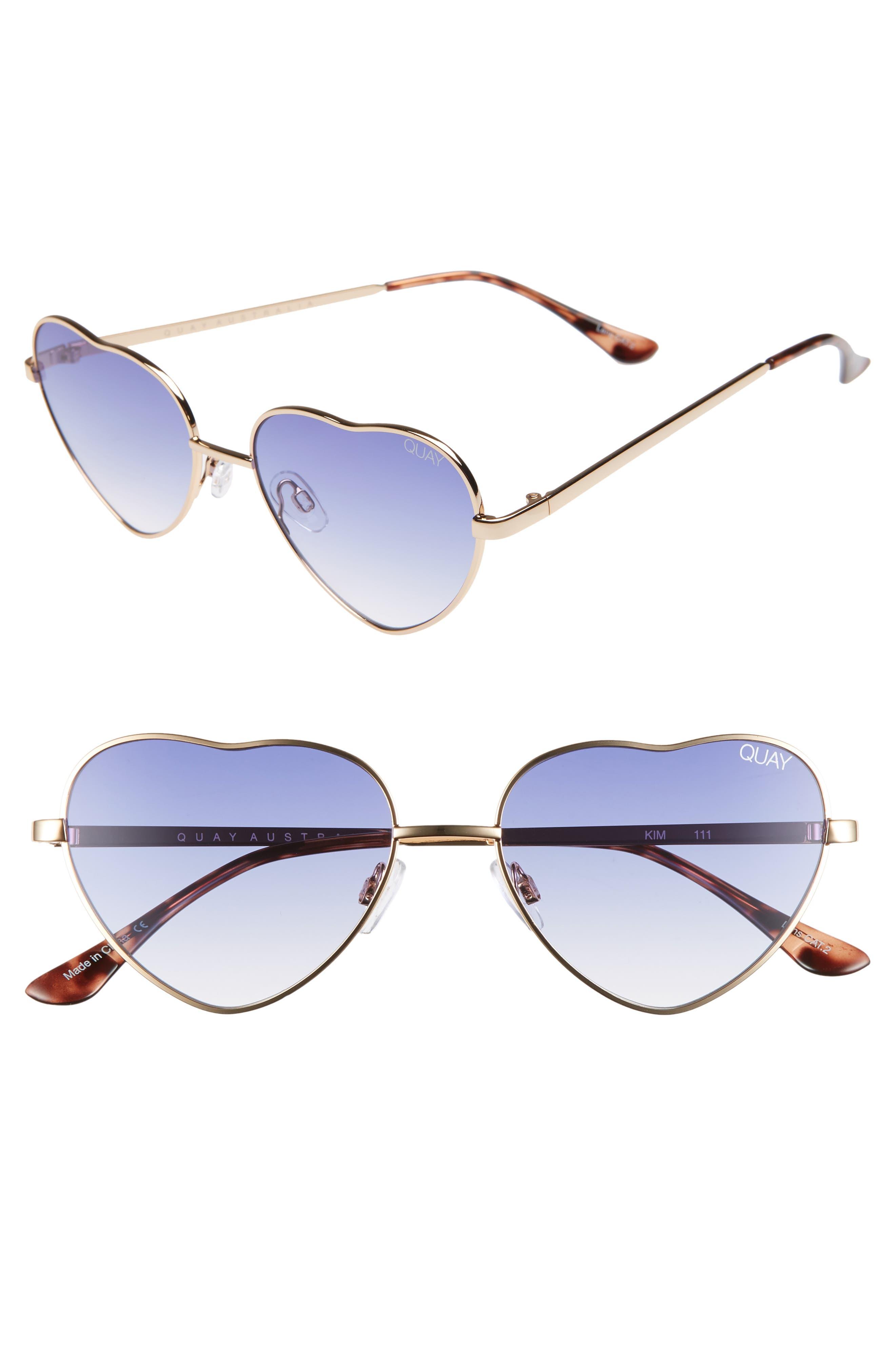 Quay Australia X Elle Ferguson Kim 55Mm Heart Sunglasses - Gold/ Blue Fade