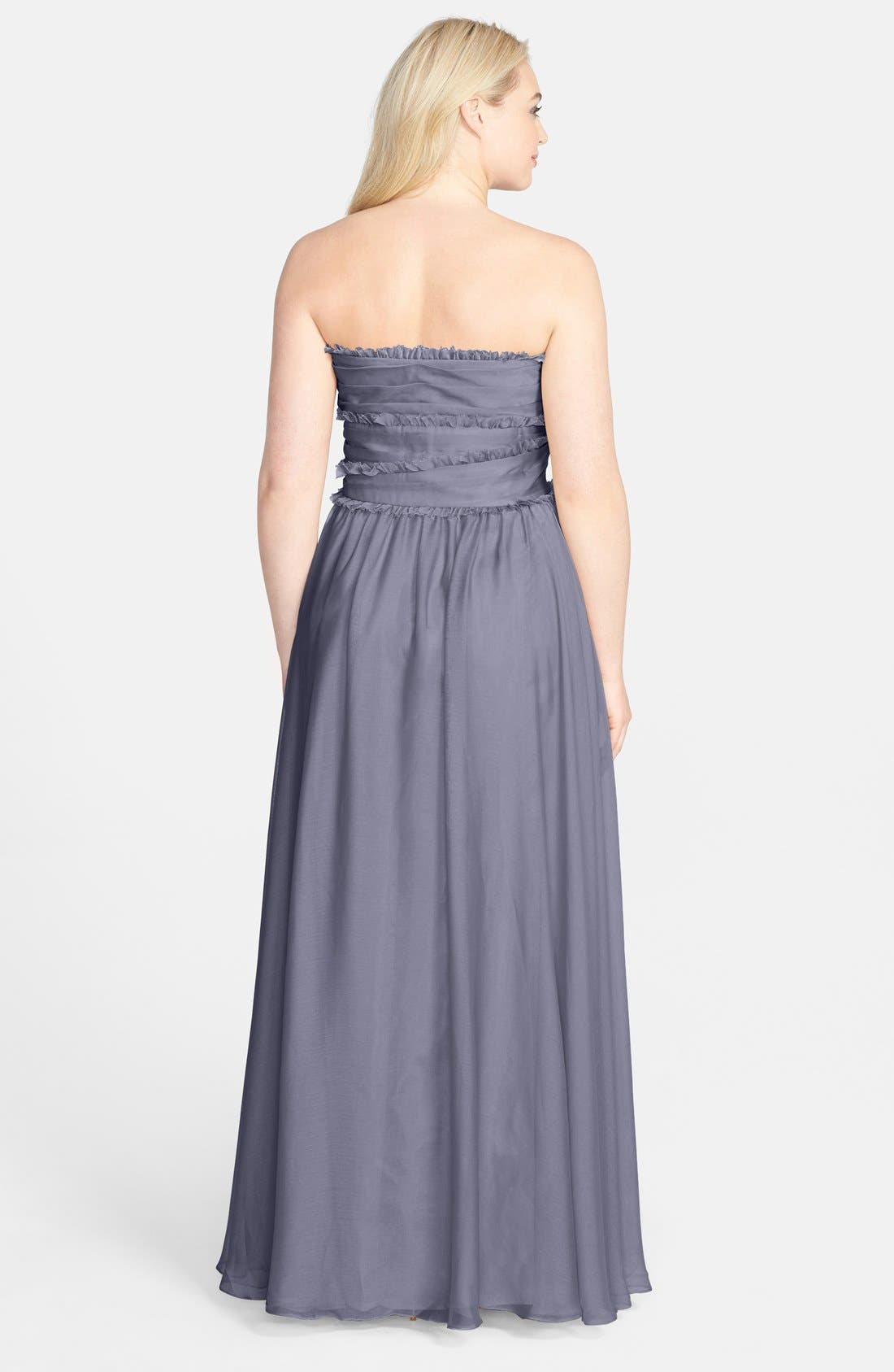 ML Monique Lhuillier Bridesmaids Strapless Chiffon Gown,                             Alternate thumbnail 19, color,