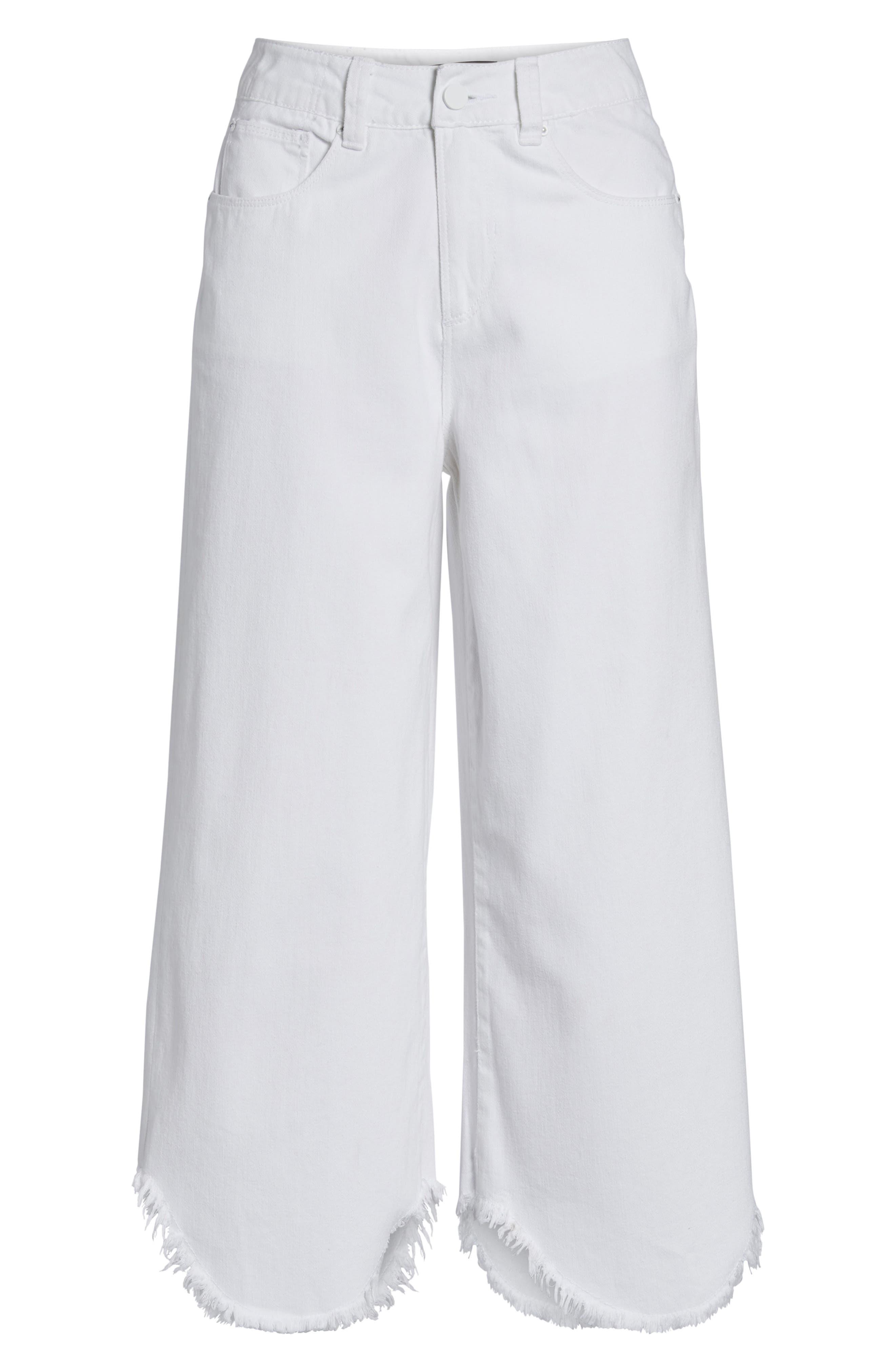 Wide Leg Crop Jeans,                             Alternate thumbnail 6, color,                             100