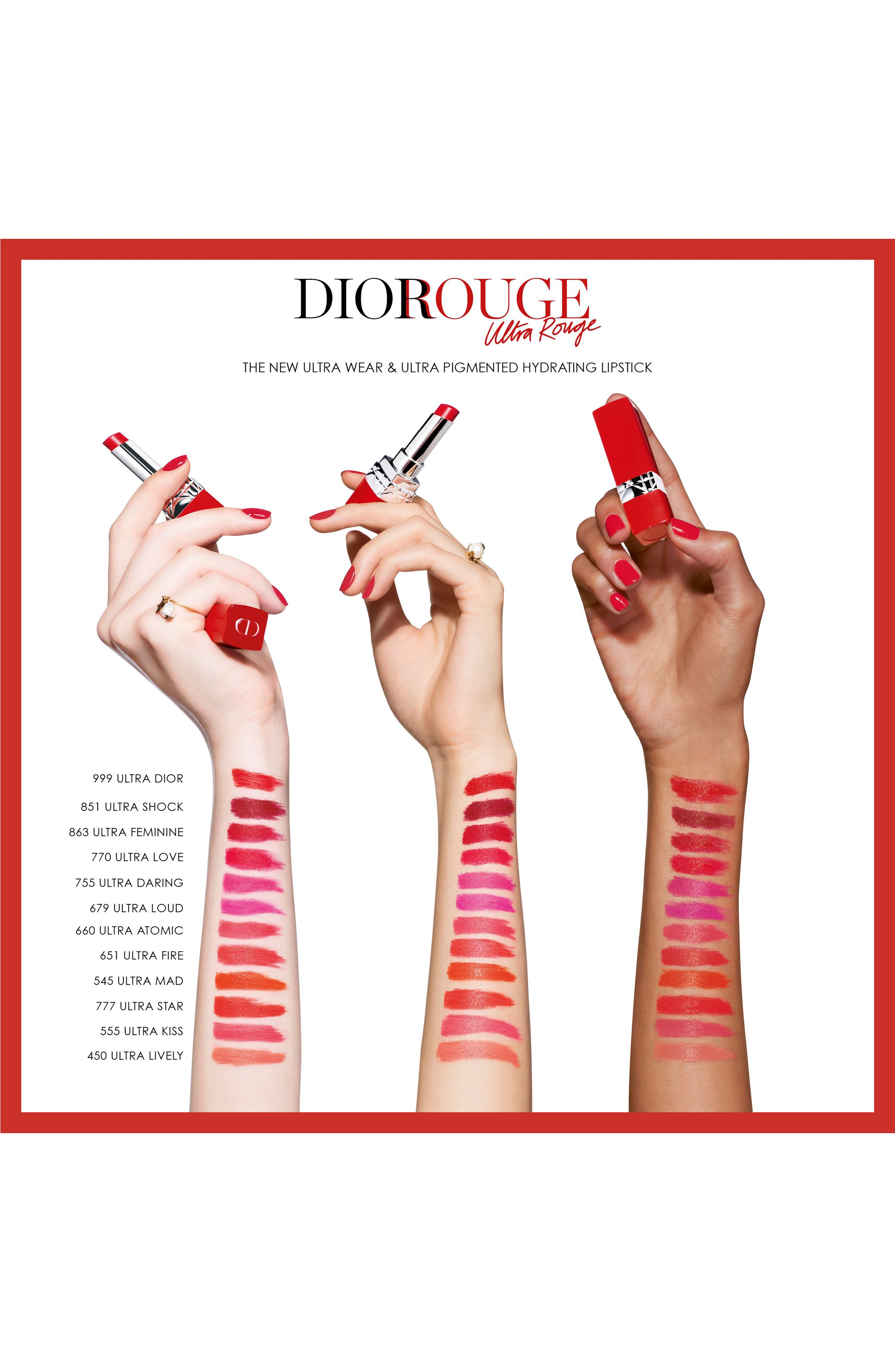 Rouge Dior Ultra Rouge Pigmented Hydra Lipstick,                             Alternate thumbnail 3, color,                             863 ULTRA FEMININE