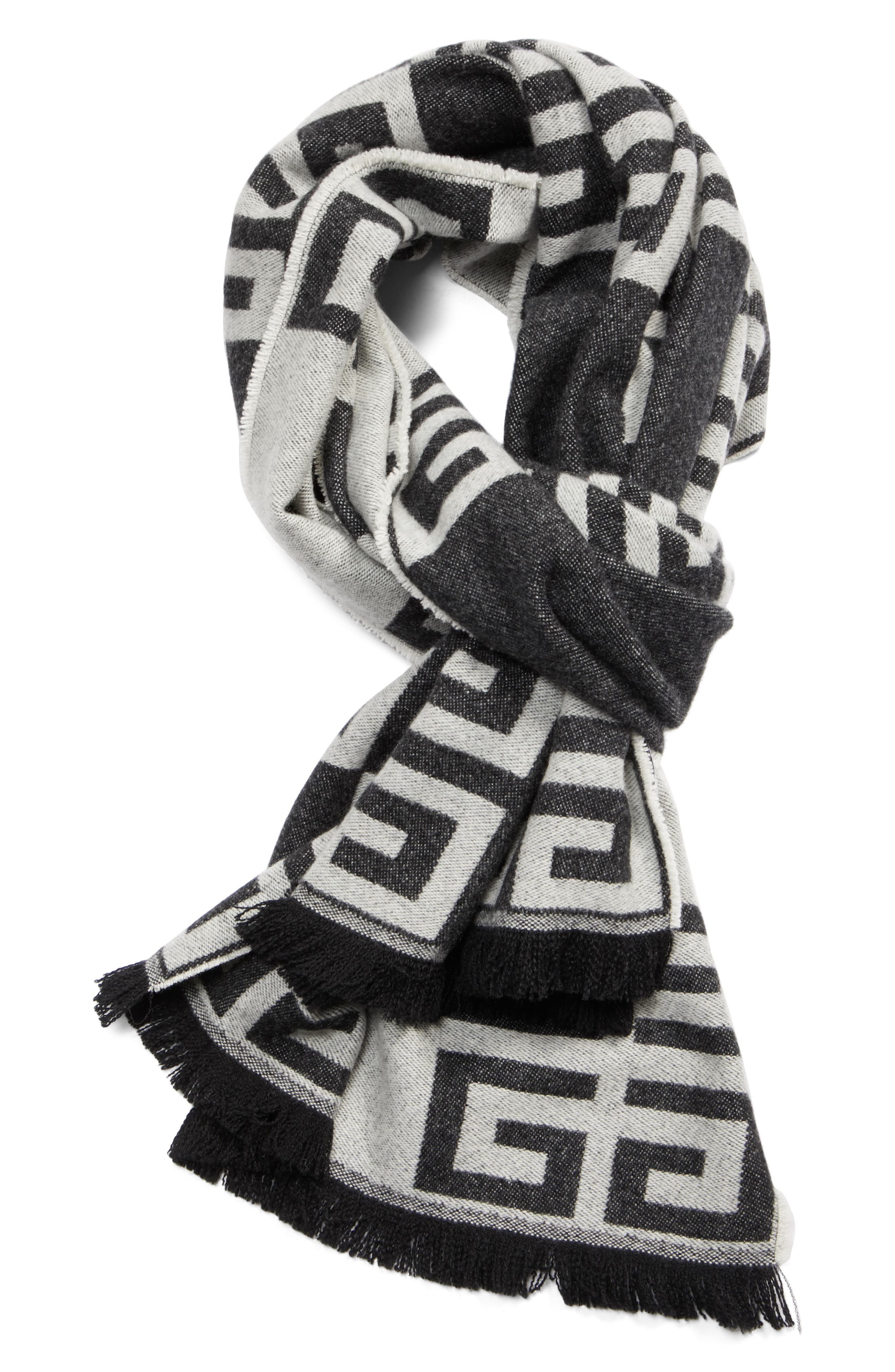4G Check Cashmere Scarf,                             Alternate thumbnail 3, color,                             001