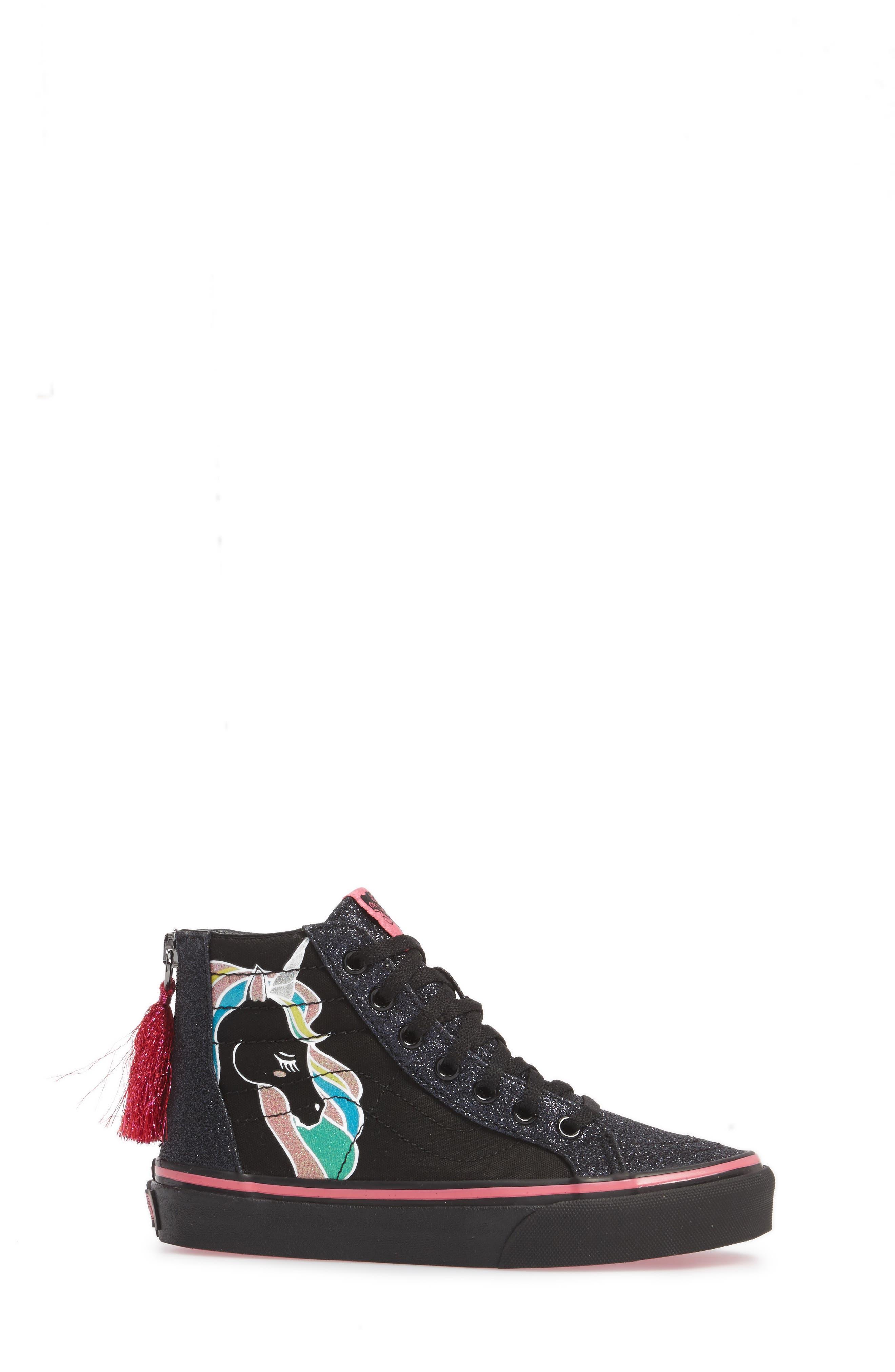 Sk8-Hi Zip Unicorn Glitter High Top Sneaker,                             Alternate thumbnail 5, color,