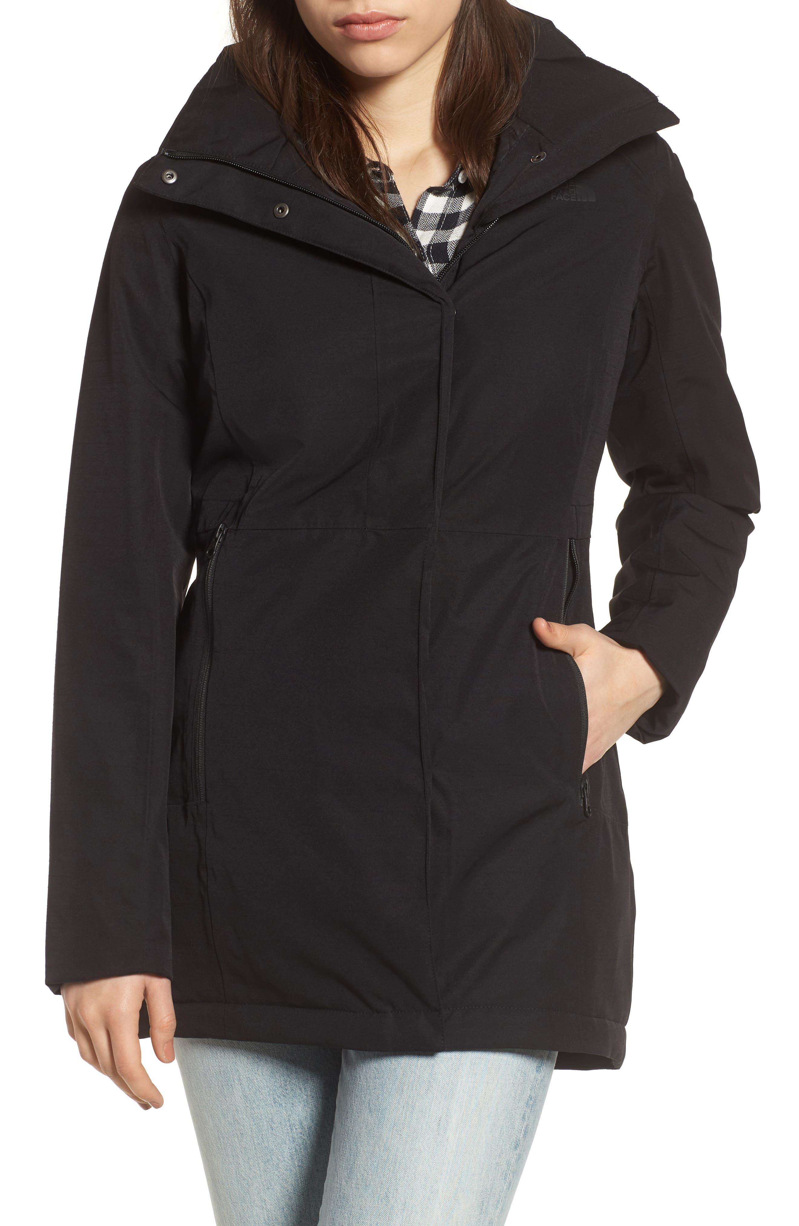 THE NORTH FACE Ancha II Hooded Waterproof Parka, Main, color, 001