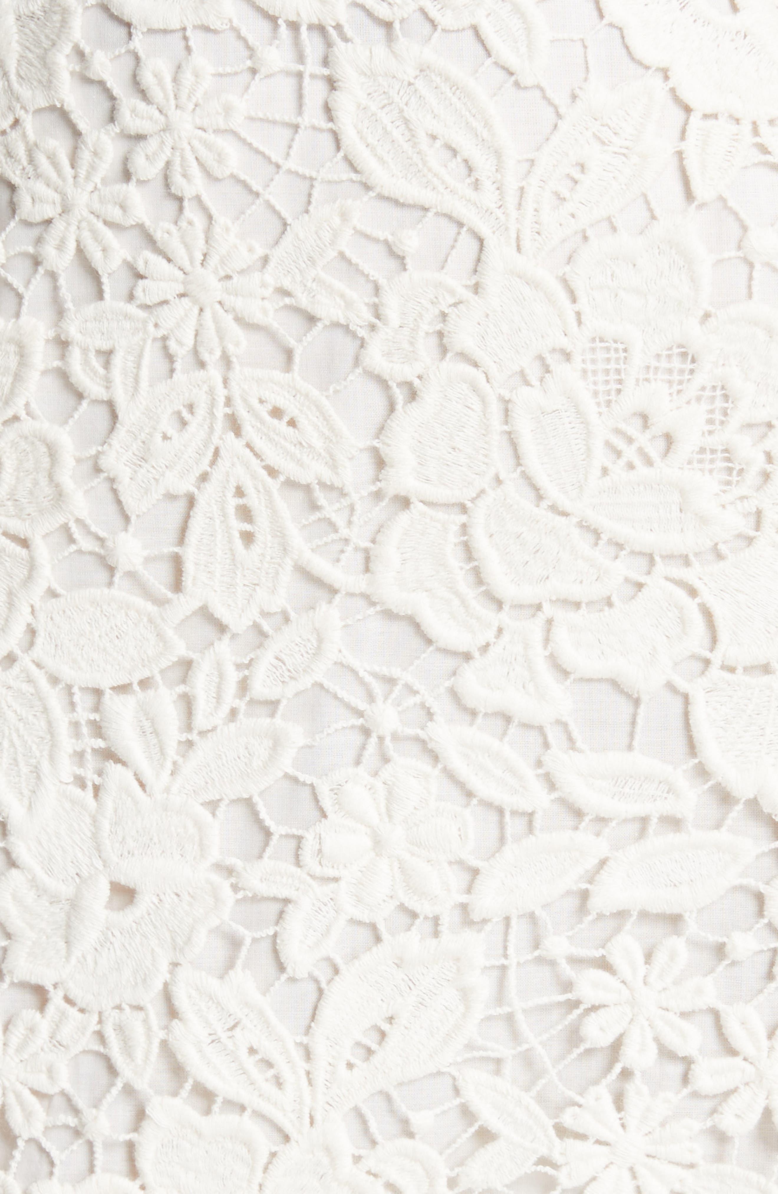 Celedonia Scallop Lace Dress,                             Alternate thumbnail 5, color,                             PORCELAIN