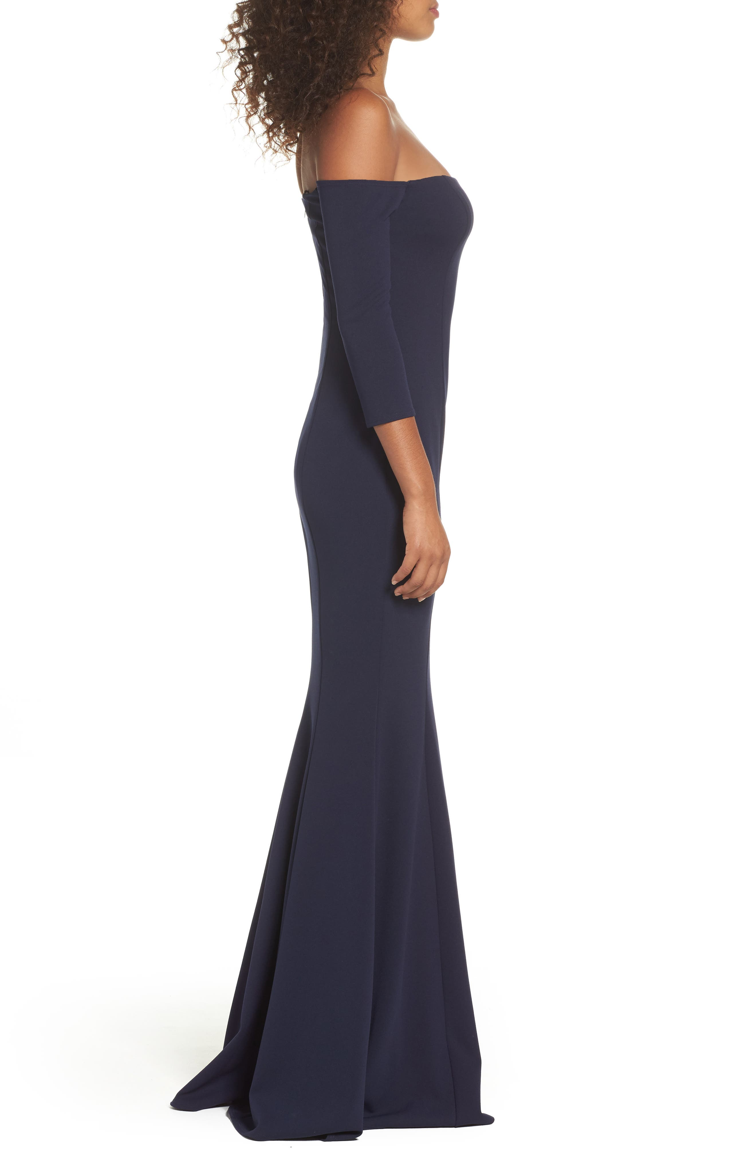 Brentwood Three-Quarter Sleeve Off the Shoulder Gown,                             Alternate thumbnail 3, color,                             NAVY
