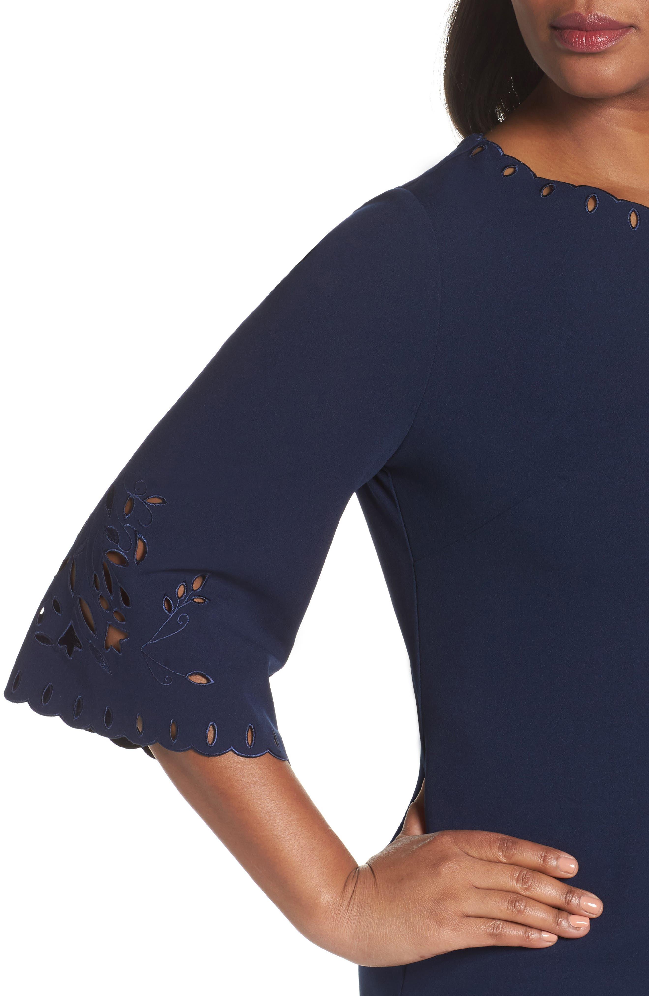 Laser Cut Shift Dress,                             Alternate thumbnail 4, color,                             410
