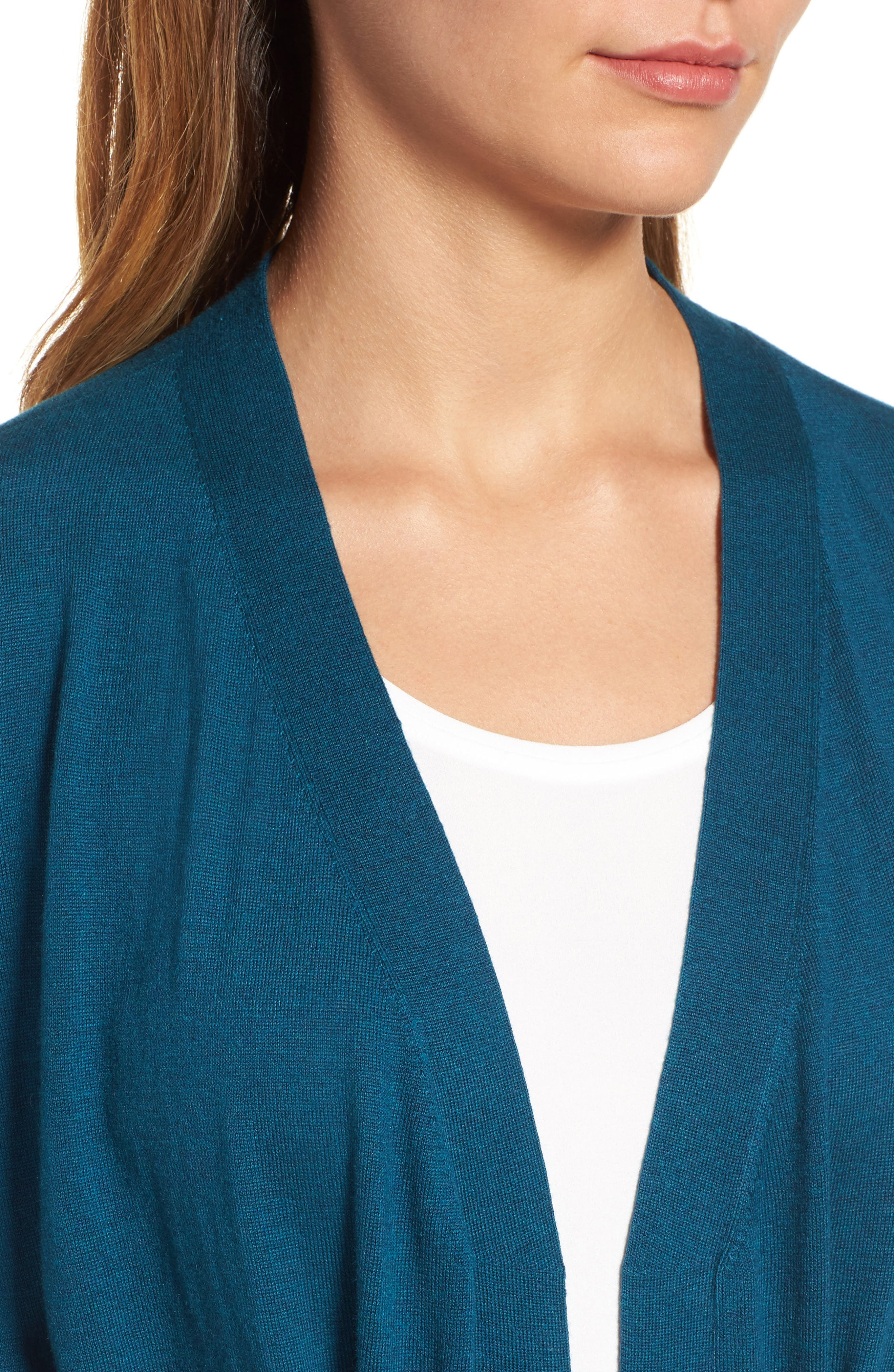 Tie Waist Tencel<sup>®</sup> Lyocell Blend Cardigan,                             Alternate thumbnail 22, color,