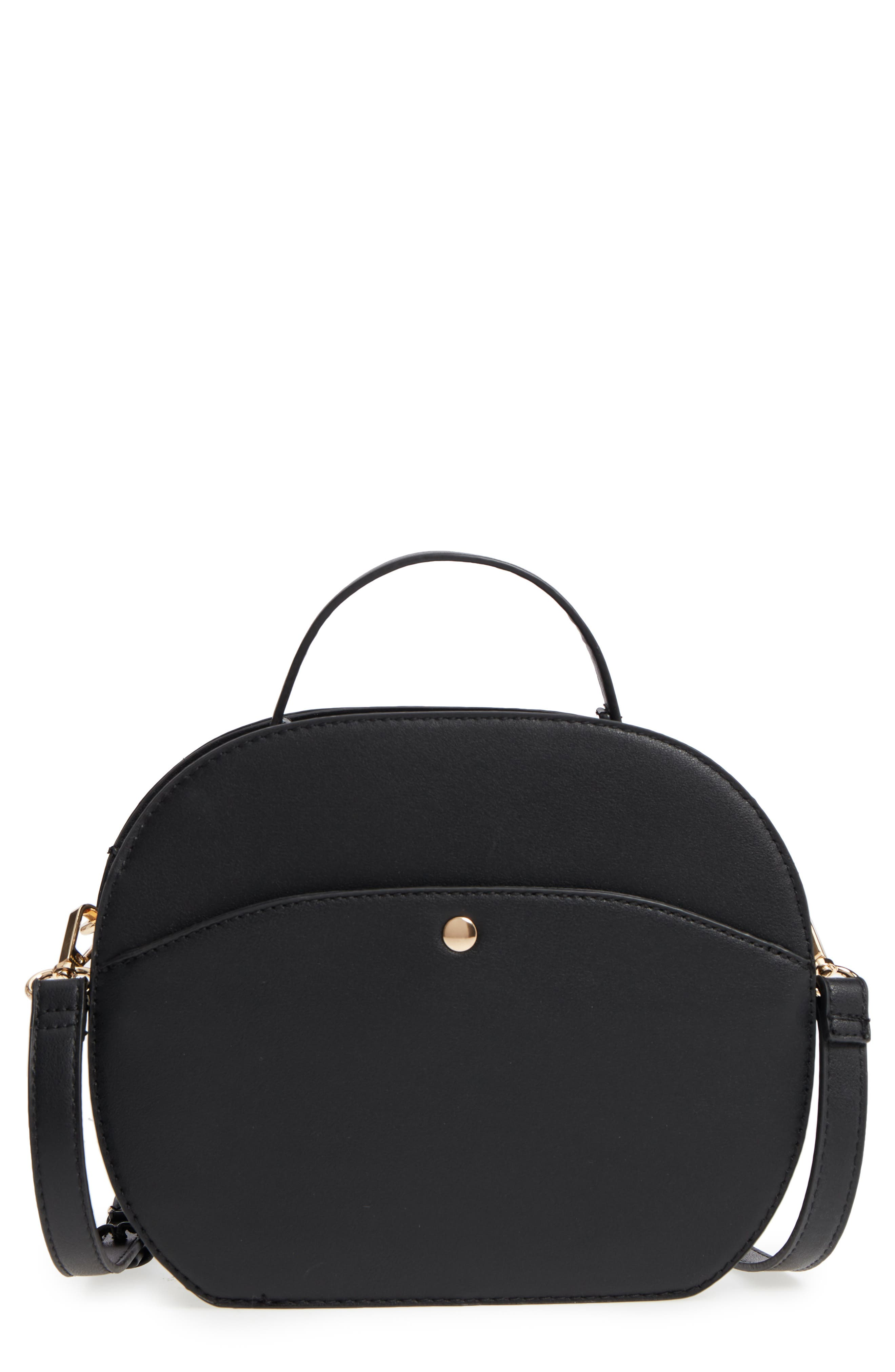 Oval Canteen Faux Leather Satchel,                             Main thumbnail 1, color,