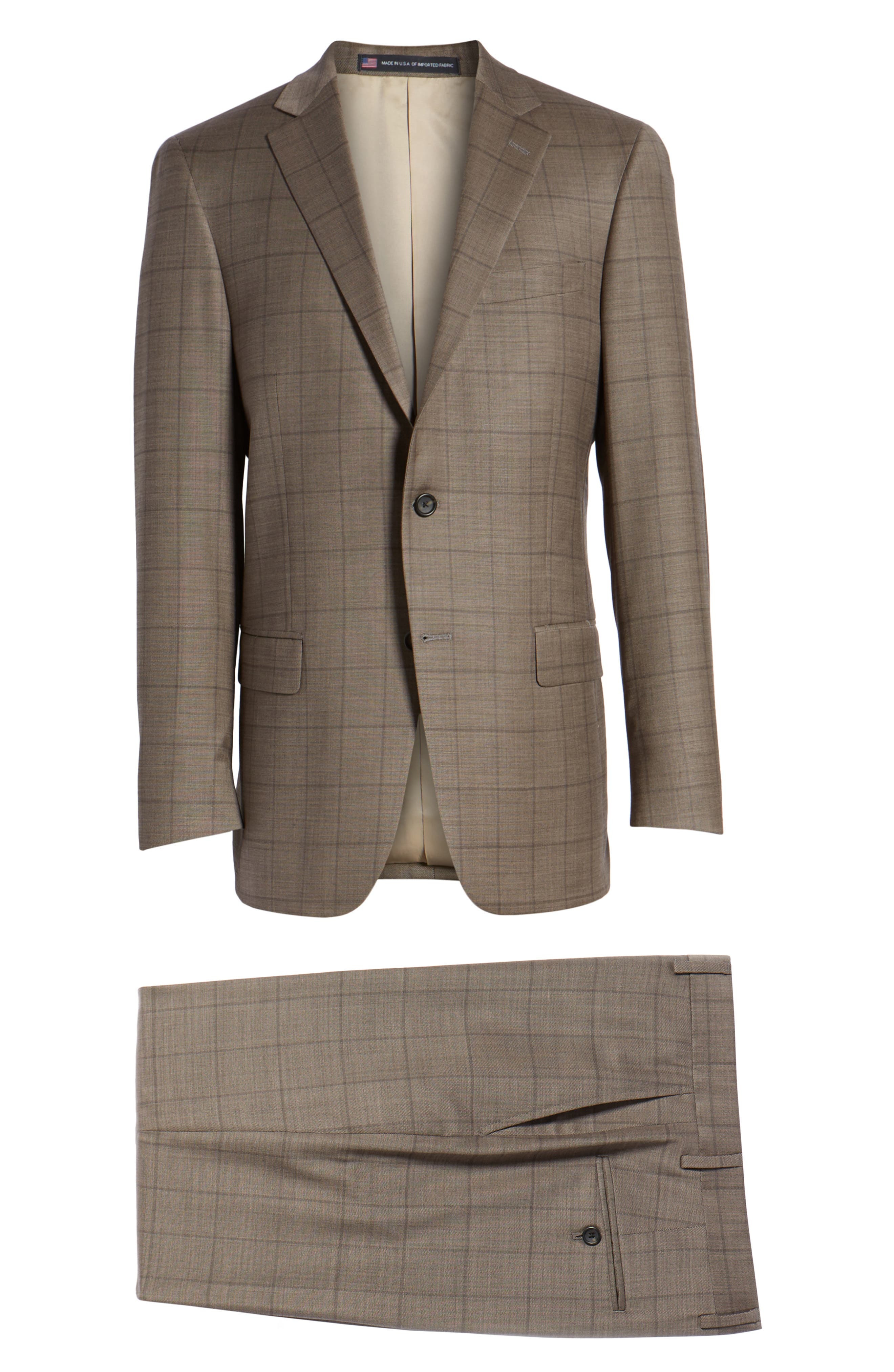 New York Classic Fit Stretch Windowpane Wool Suit,                             Alternate thumbnail 8, color,                             210