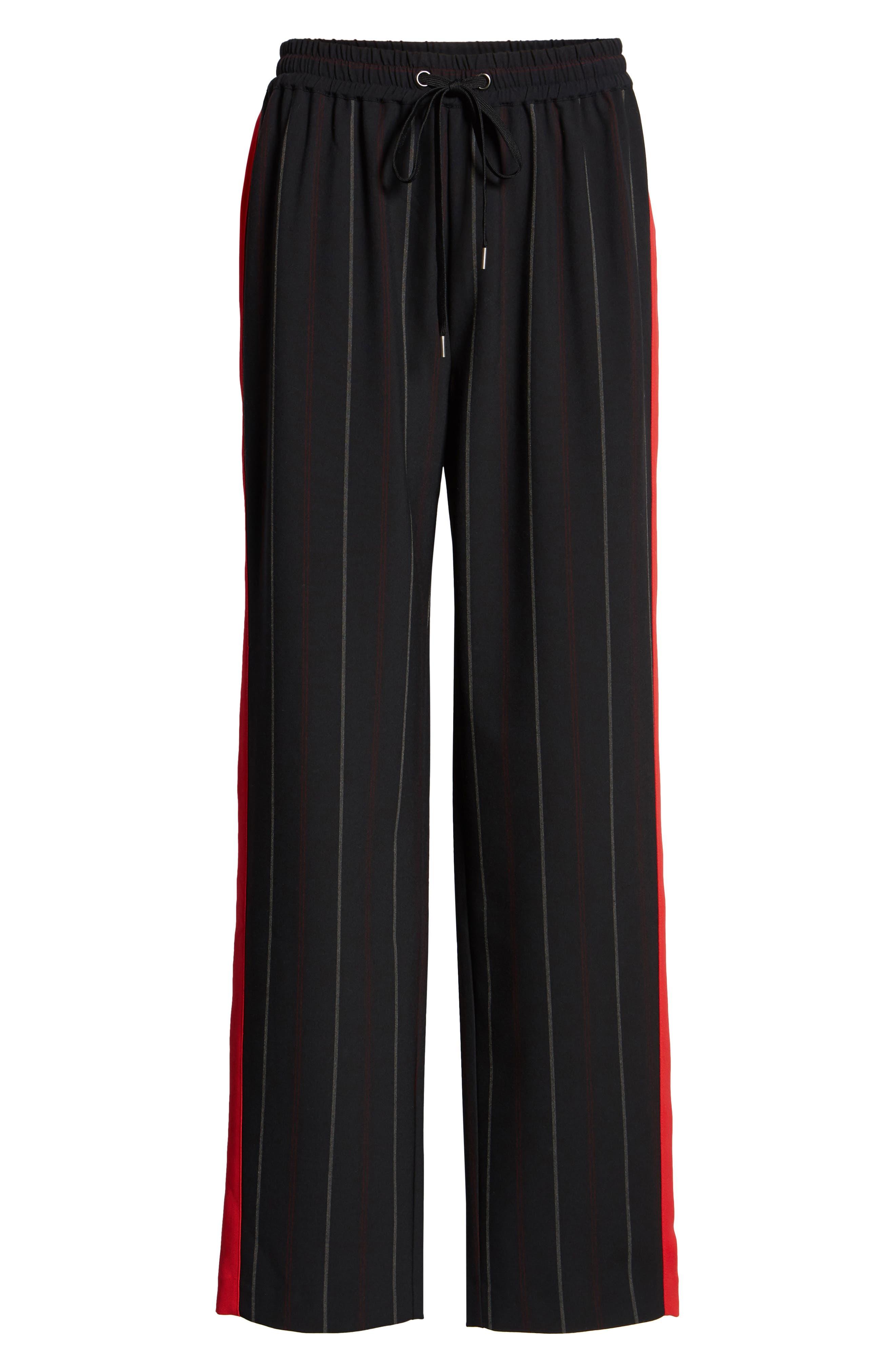 Wide Leg Track Pants,                             Alternate thumbnail 6, color,                             BLACK SHIRLIE STRIPE