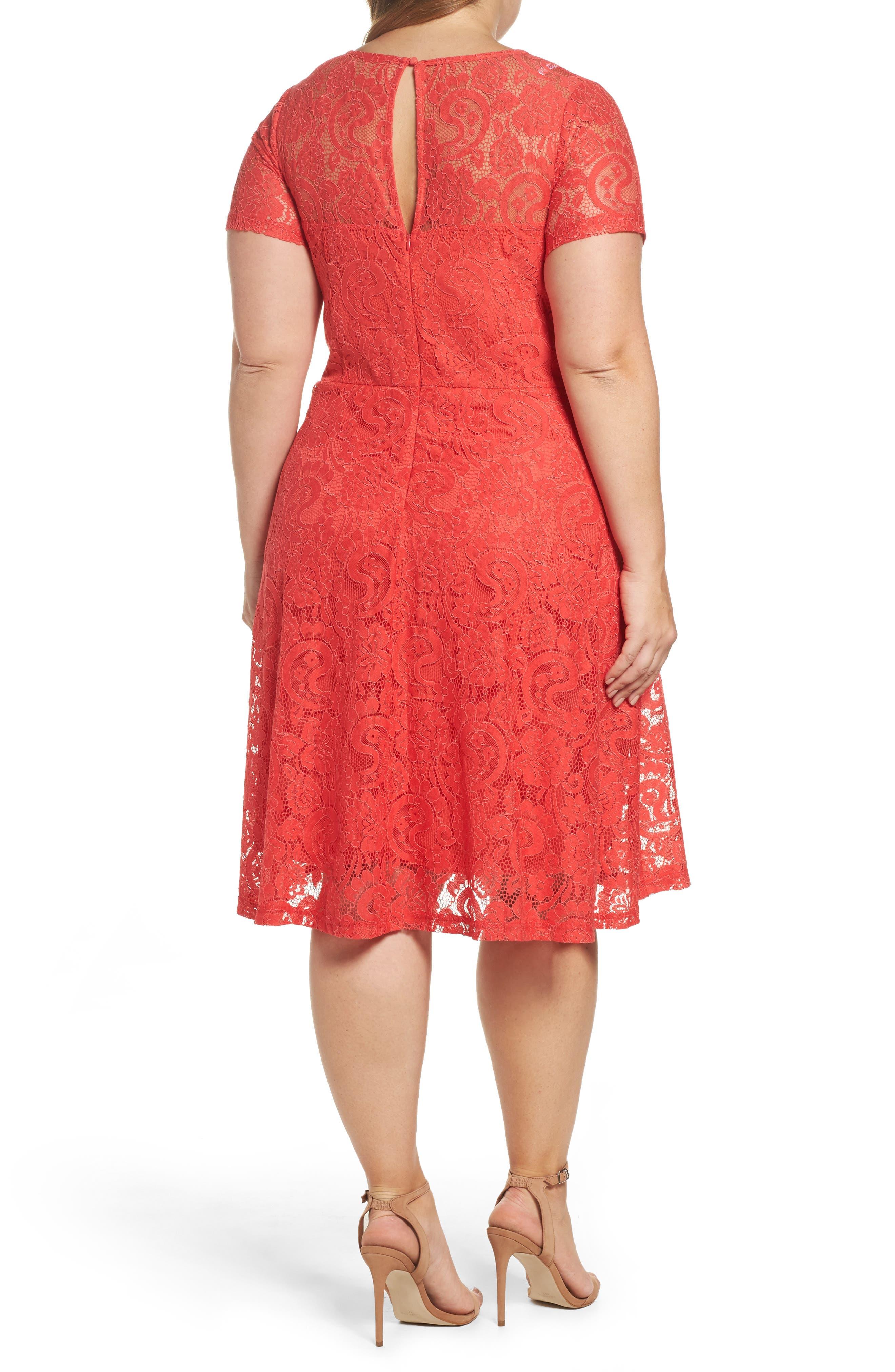 Lace Fit & Flare Dress,                             Alternate thumbnail 2, color,                             620