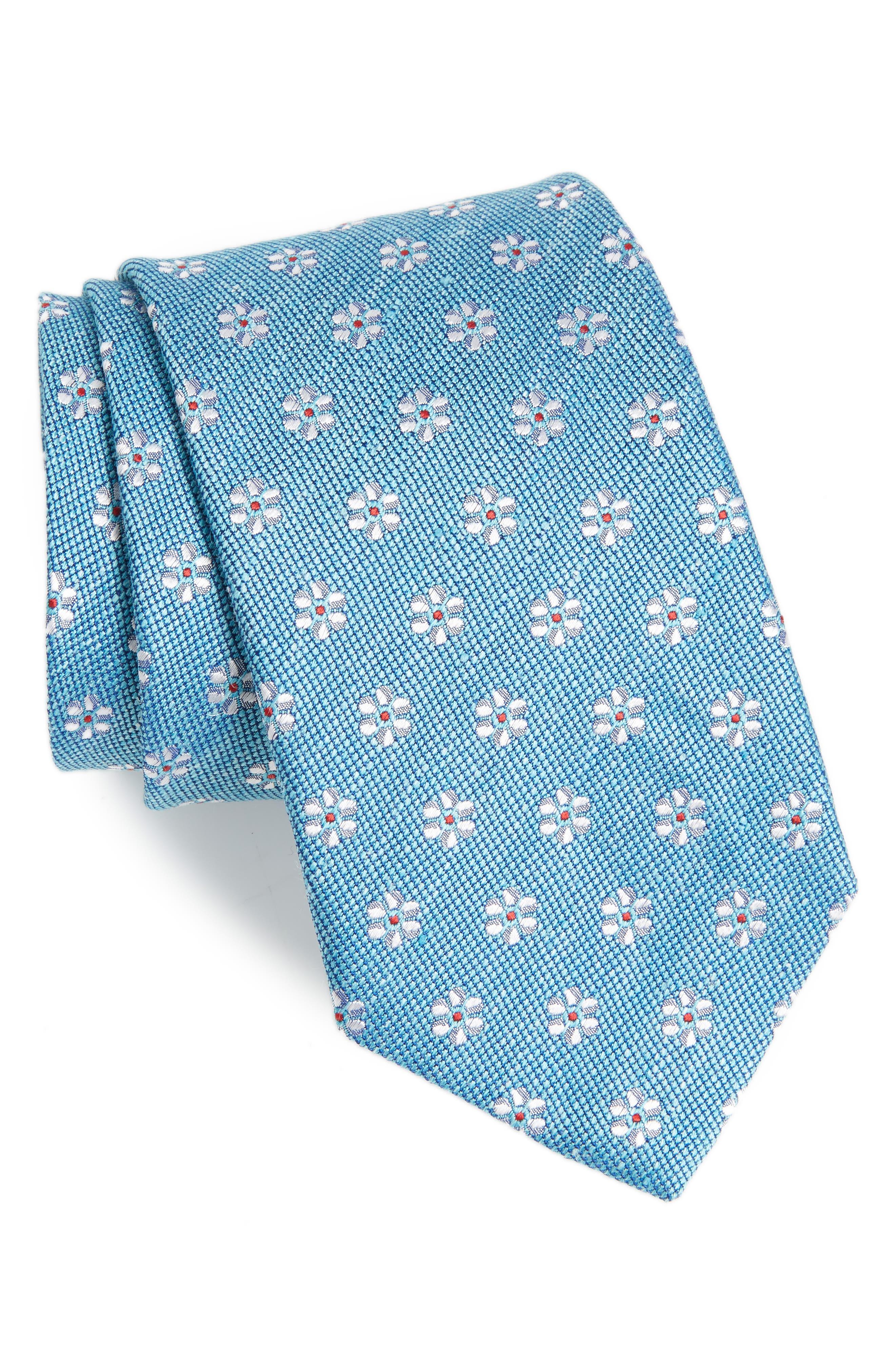 Neat Flower Silk & Linen Tie,                             Main thumbnail 1, color,                             400