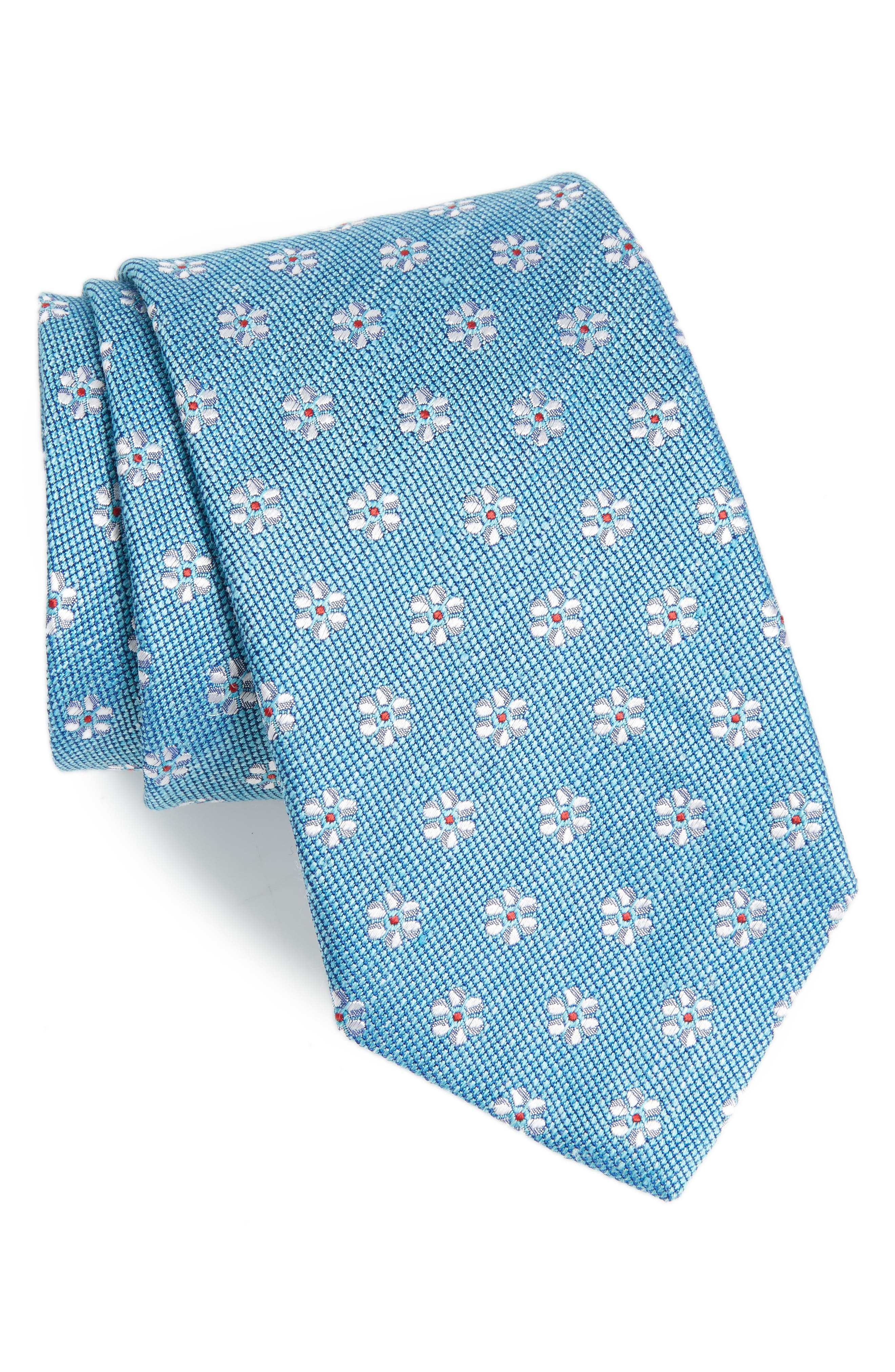 Neat Flower Silk & Linen Tie,                         Main,                         color, 400
