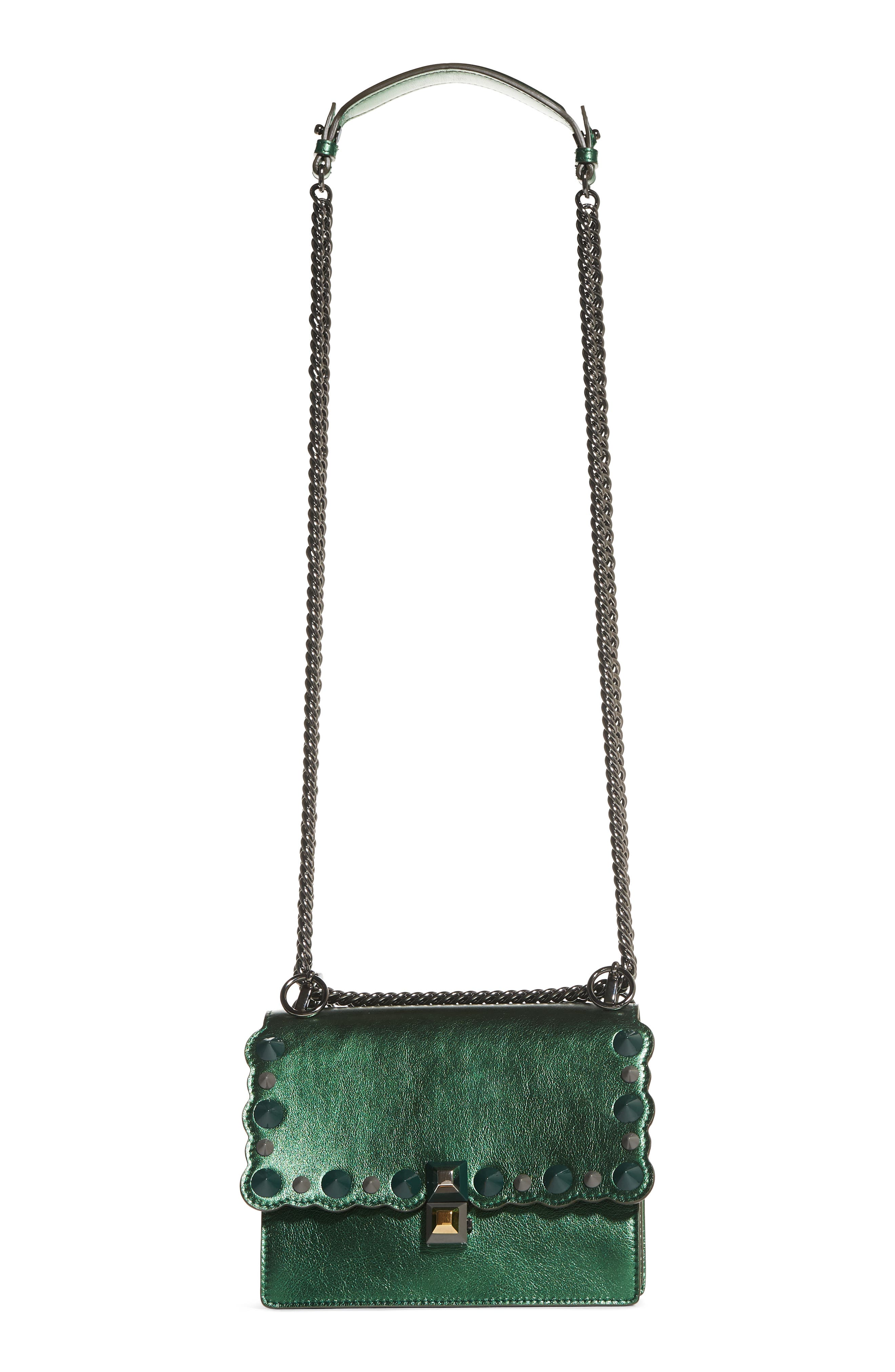 Small Kan I Metallic Leather Shoulder Bag,                             Main thumbnail 1, color,                             GREEN METALLIC
