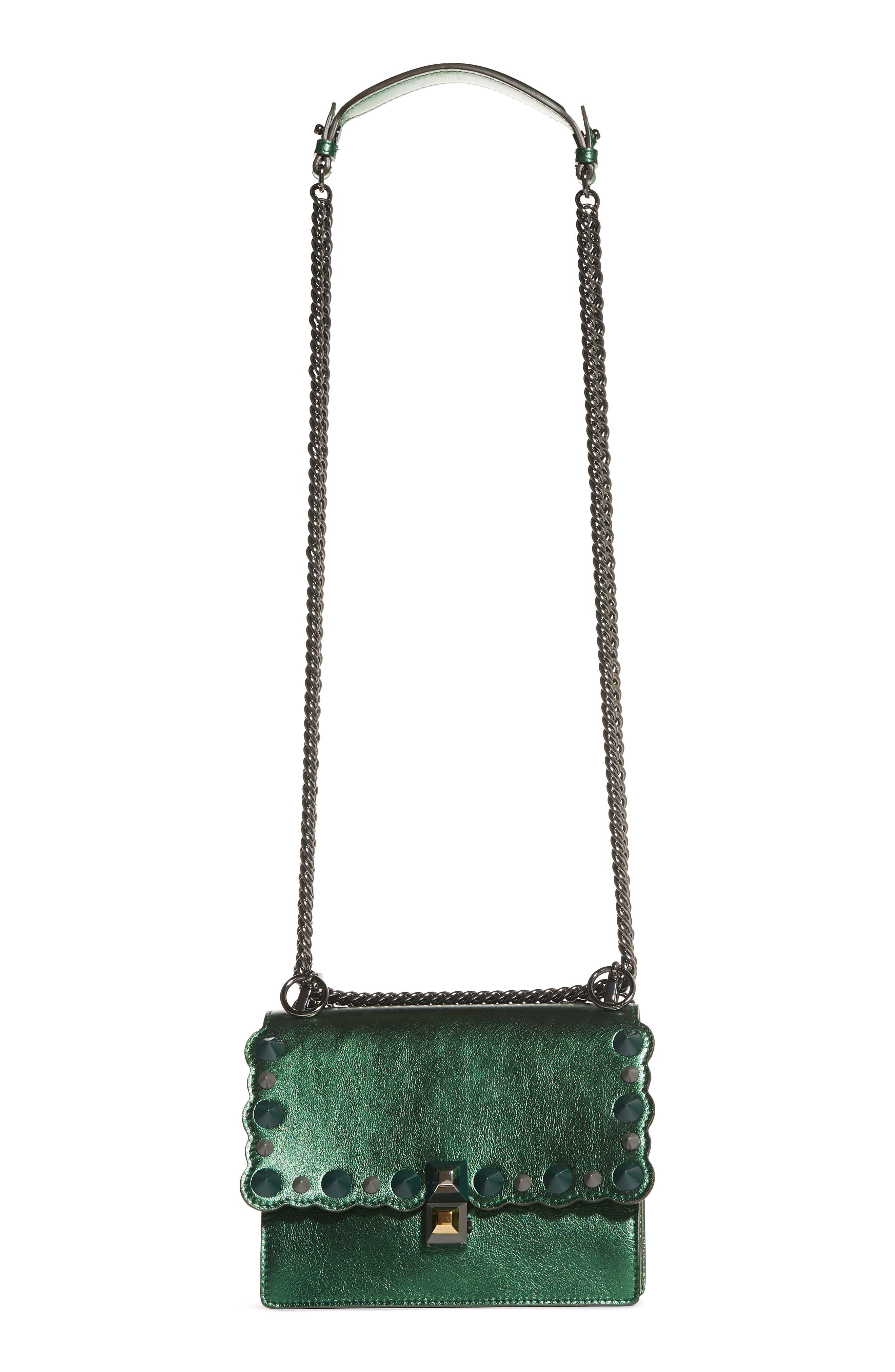 Small Kan I Metallic Leather Shoulder Bag,                         Main,                         color, GREEN METALLIC