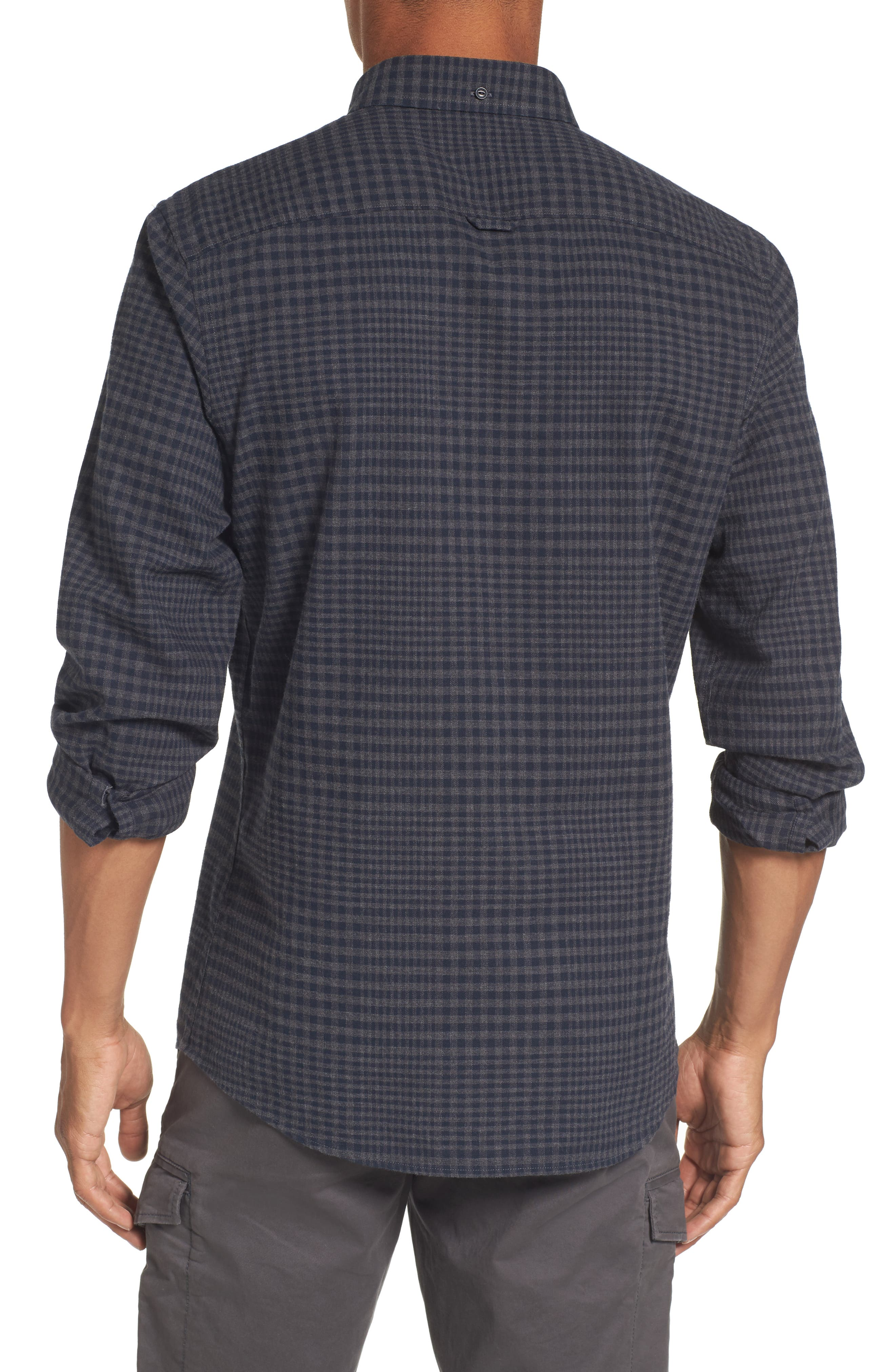 Slim Fit Washed Glen Plaid Sport Shirt,                             Alternate thumbnail 2, color,                             021