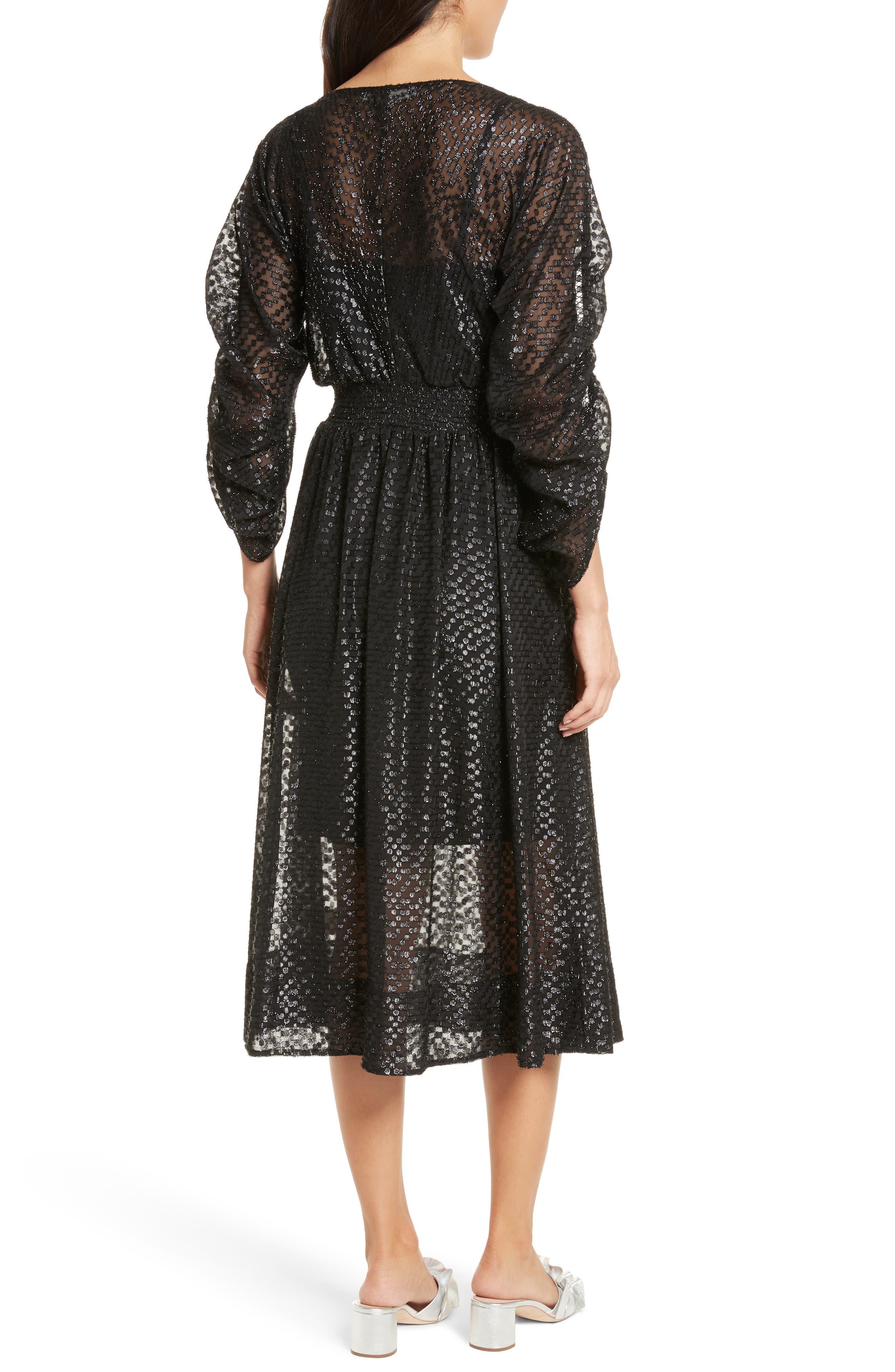 Long Sleeve Metallic Dot Midi Dress,                             Alternate thumbnail 2, color,                             001