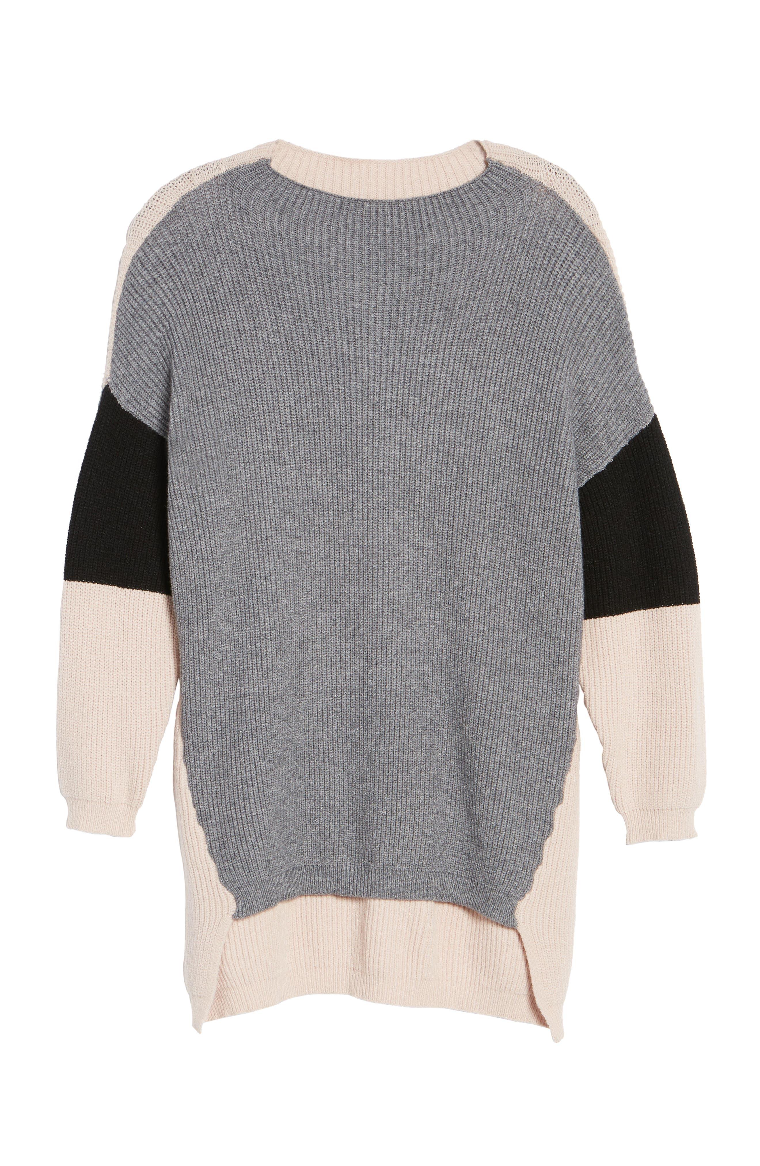 Colorblock Tunic Sweater,                             Alternate thumbnail 6, color,                             020