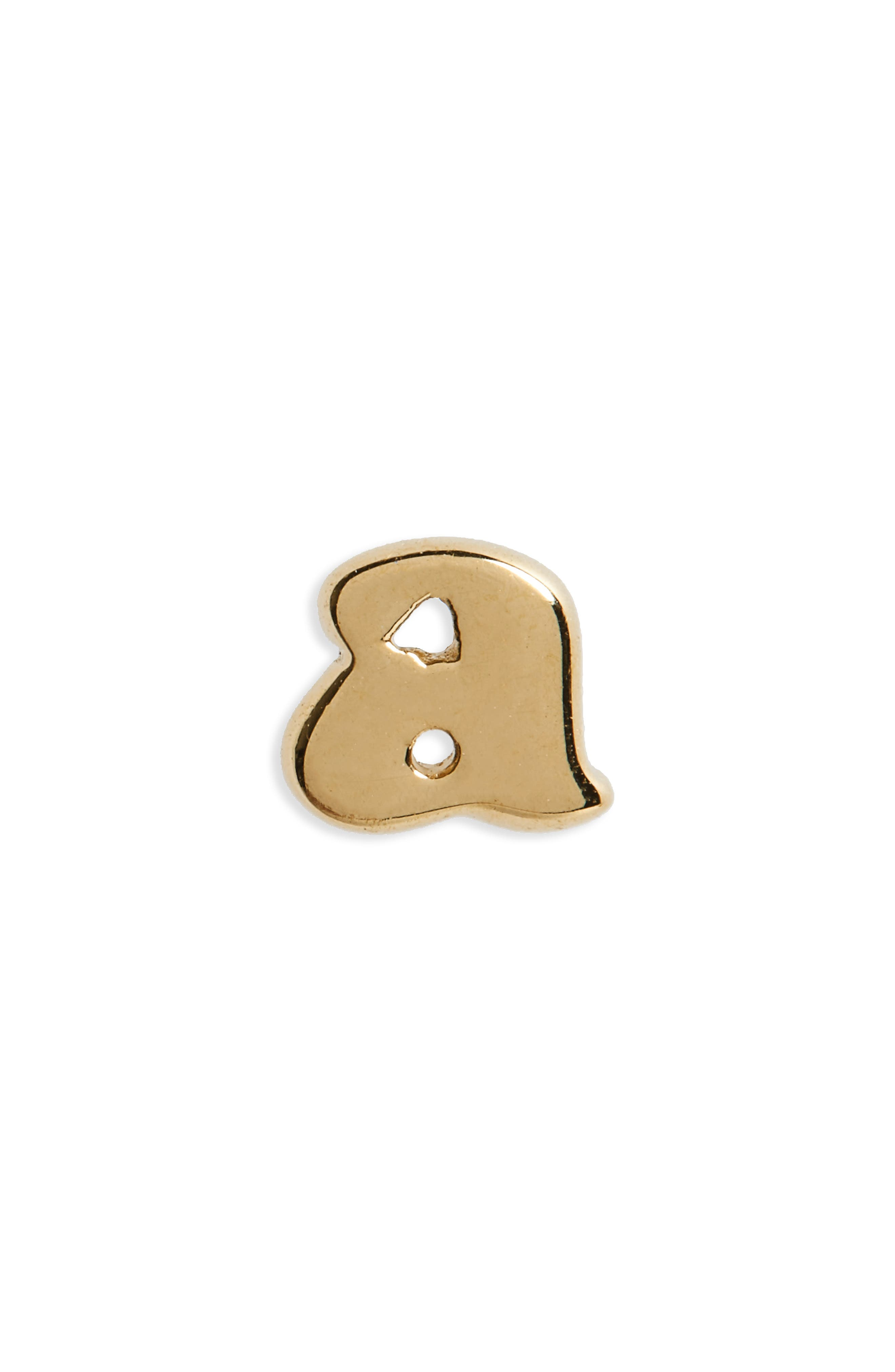 Initial Stud Earring,                         Main,                         color, A-GOLD