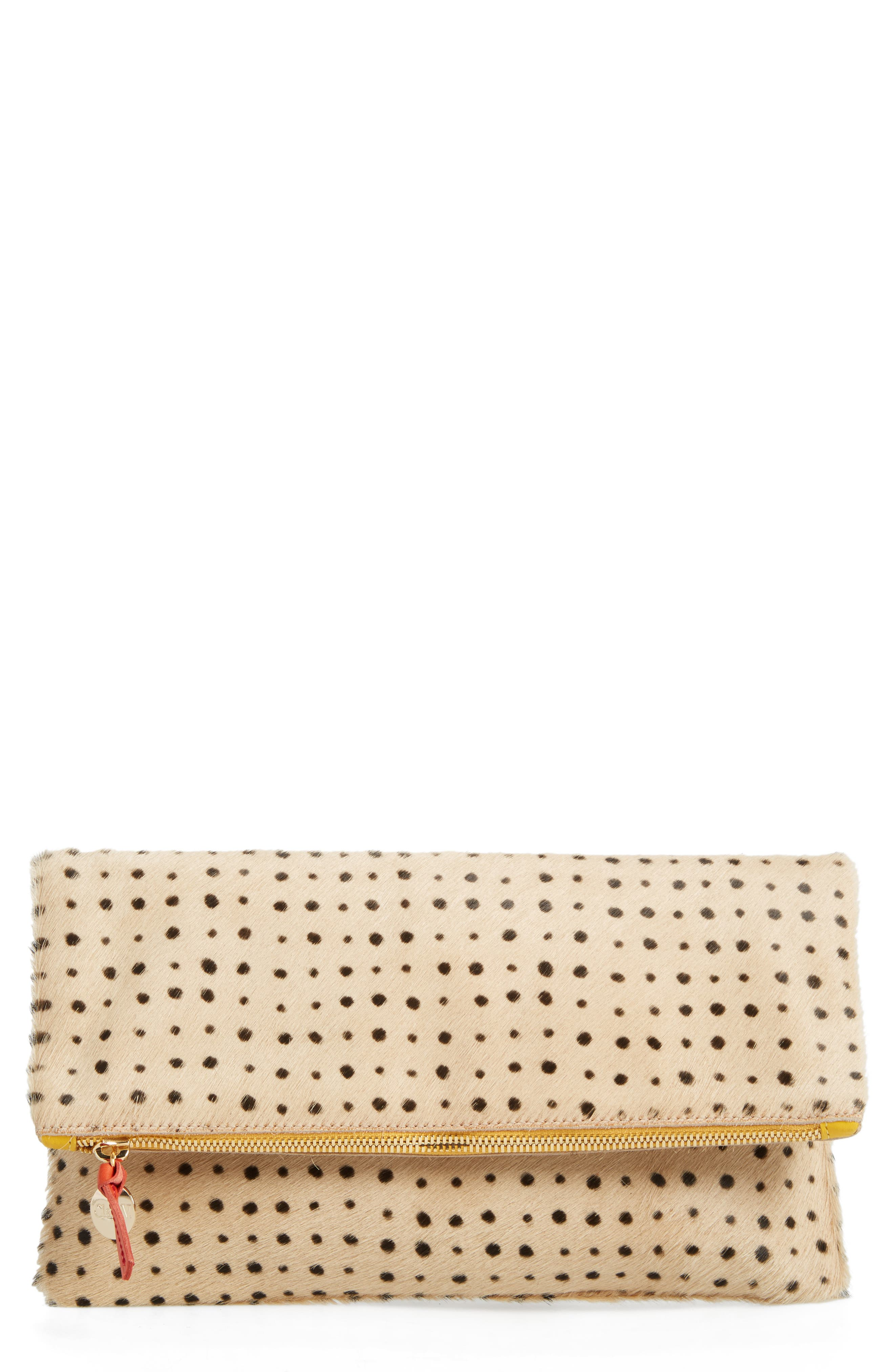 Genuine Calf Hair Foldover Clutch,                             Main thumbnail 1, color,                             TAN SPOTTED HAIR ON