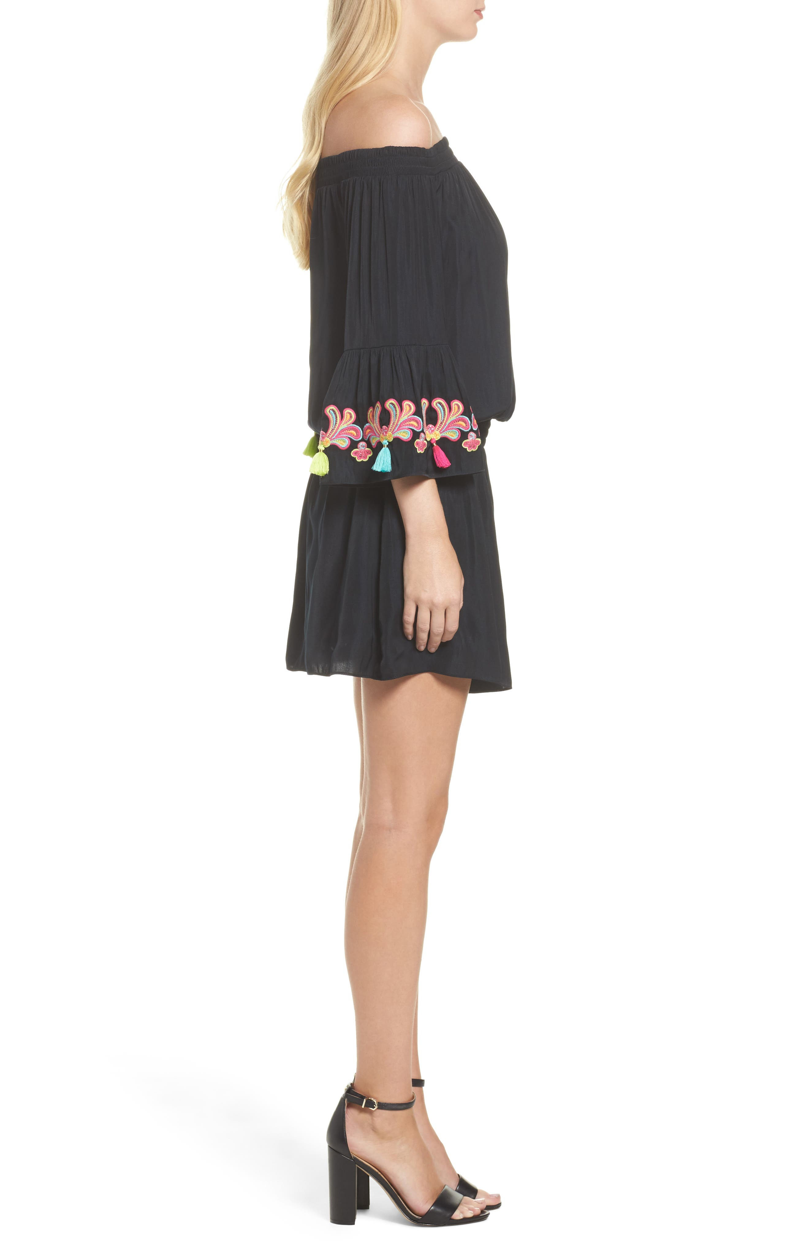 Polly Off the Shoulder Dress,                             Alternate thumbnail 3, color,                             002