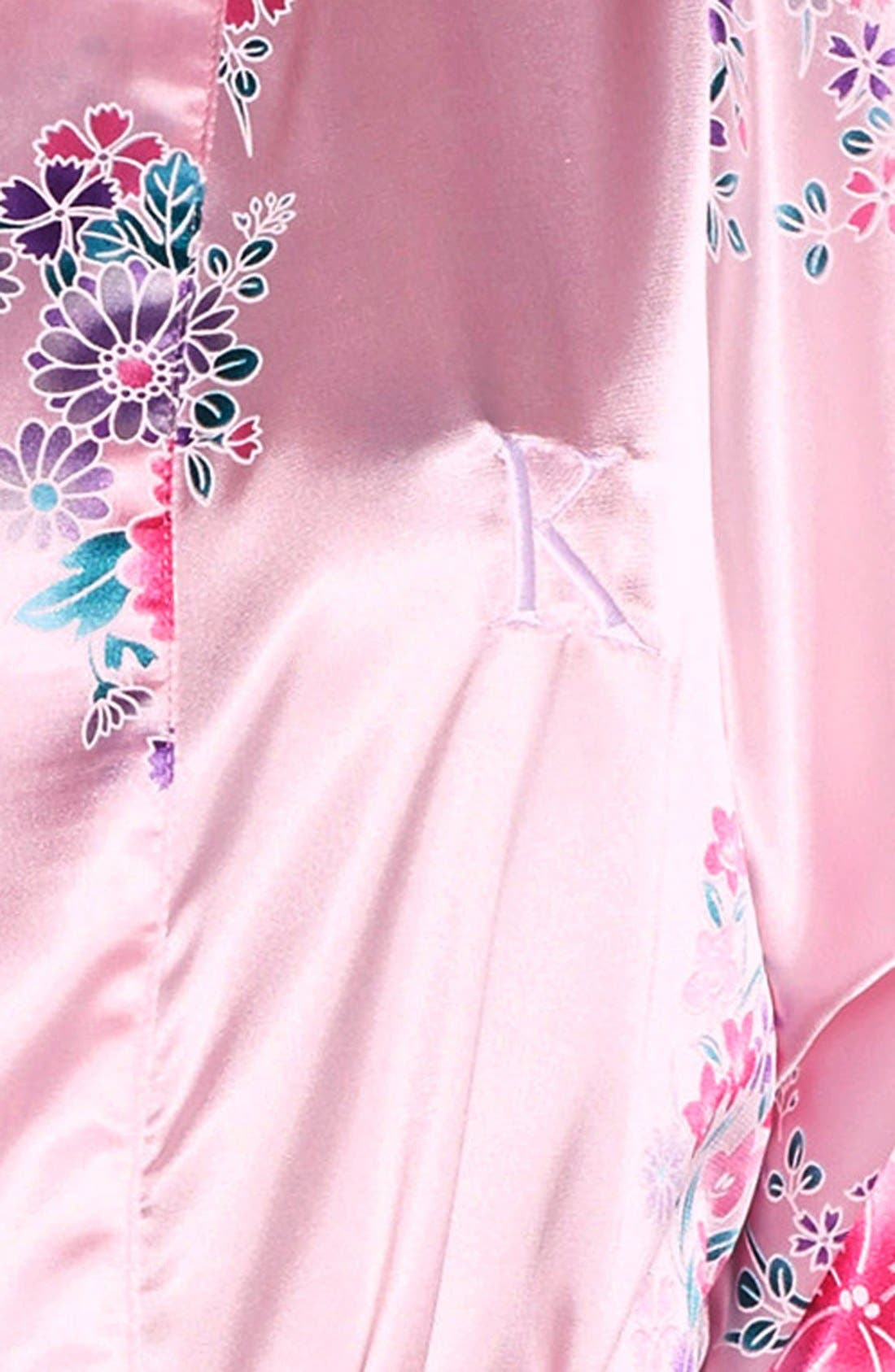 Monogram Floral Satin Robe,                             Alternate thumbnail 143, color,