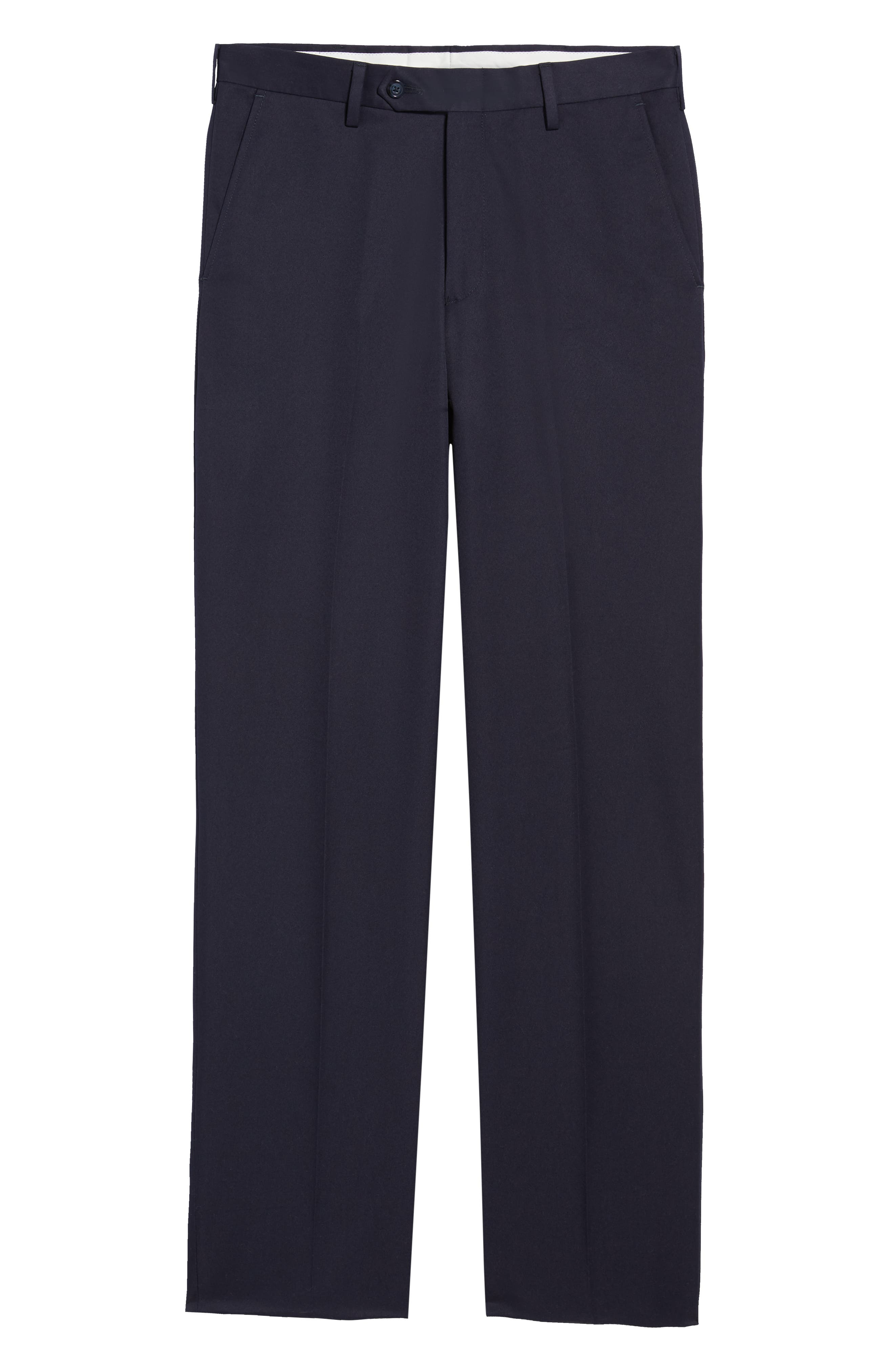 Classic Fit Flat Front Microfiber Performance Trousers,                             Alternate thumbnail 6, color,                             NAVY
