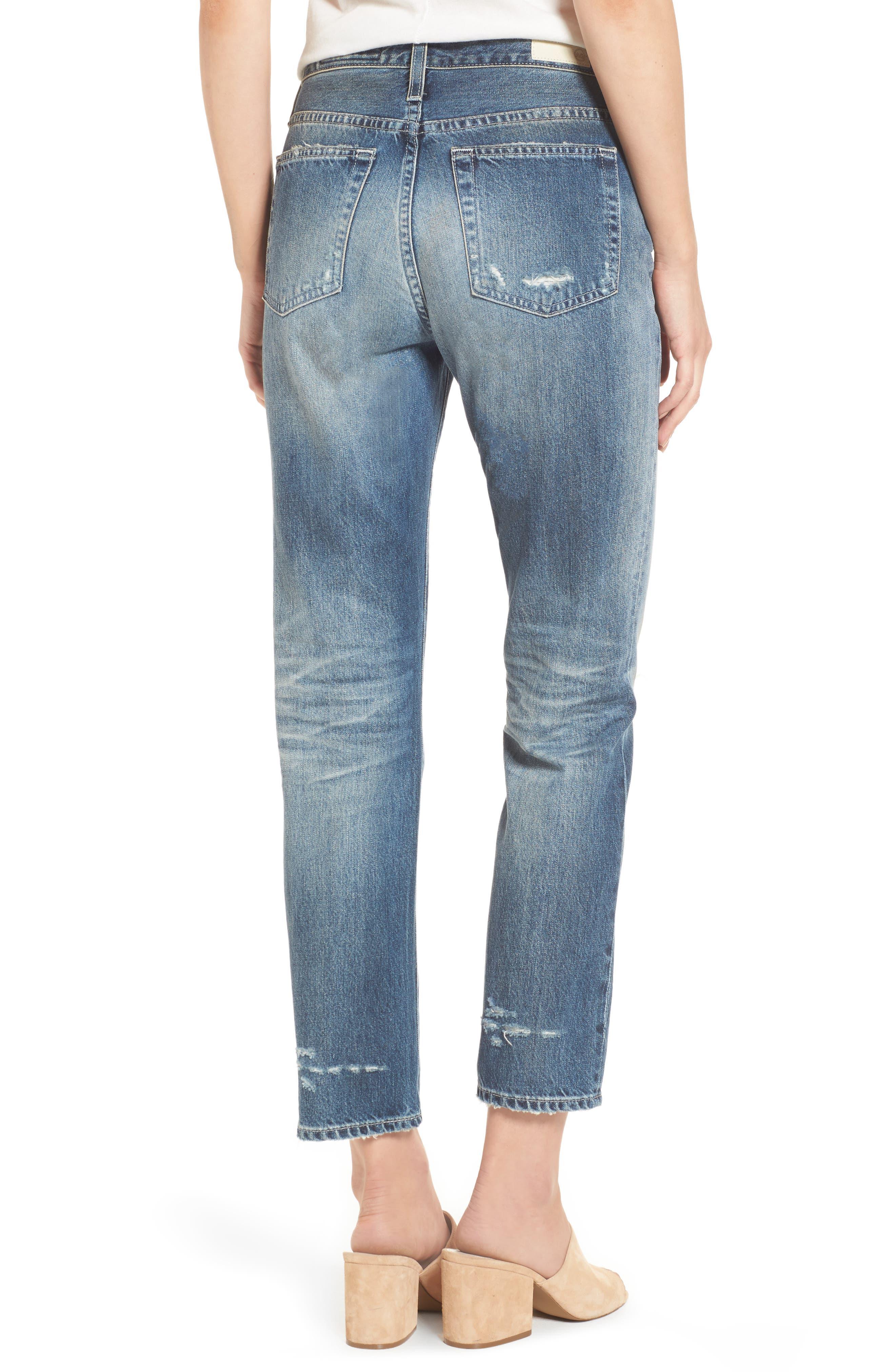 Isabelle High Waist Straight Leg Crop Jeans,                             Alternate thumbnail 4, color,