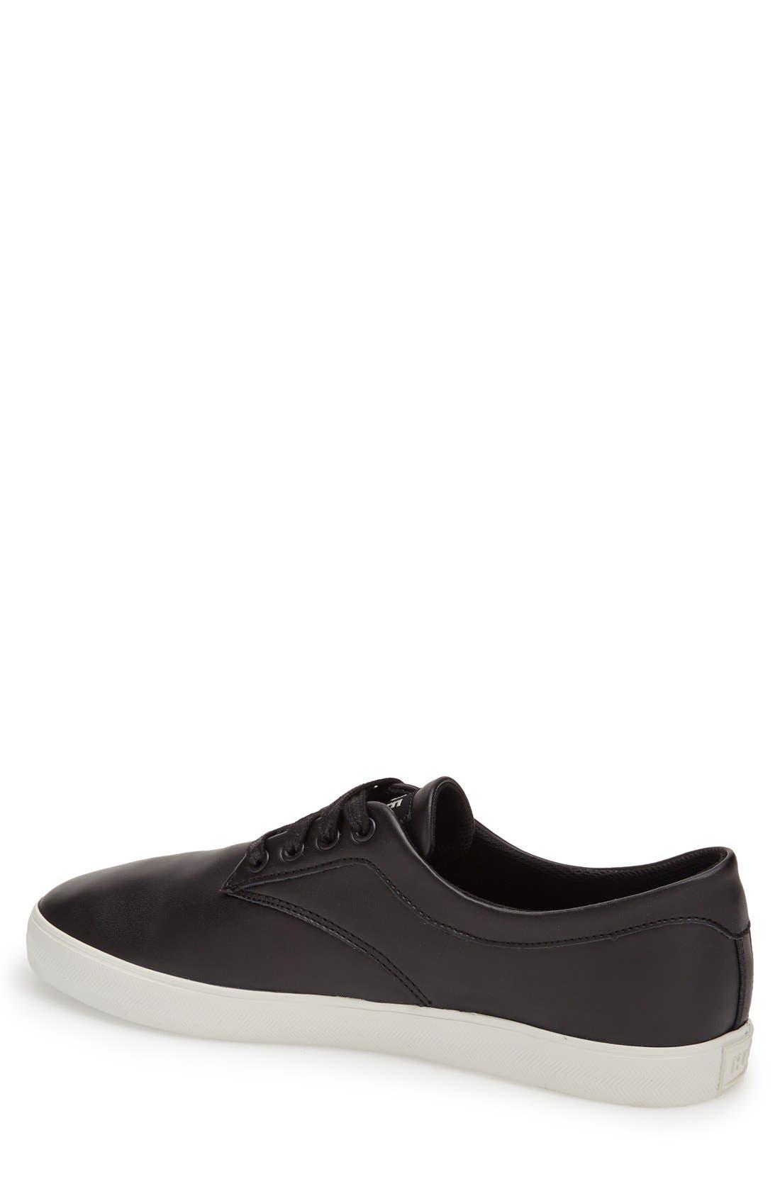 HUF,                             'Sutter' Leather Sneaker,                             Alternate thumbnail 3, color,                             001