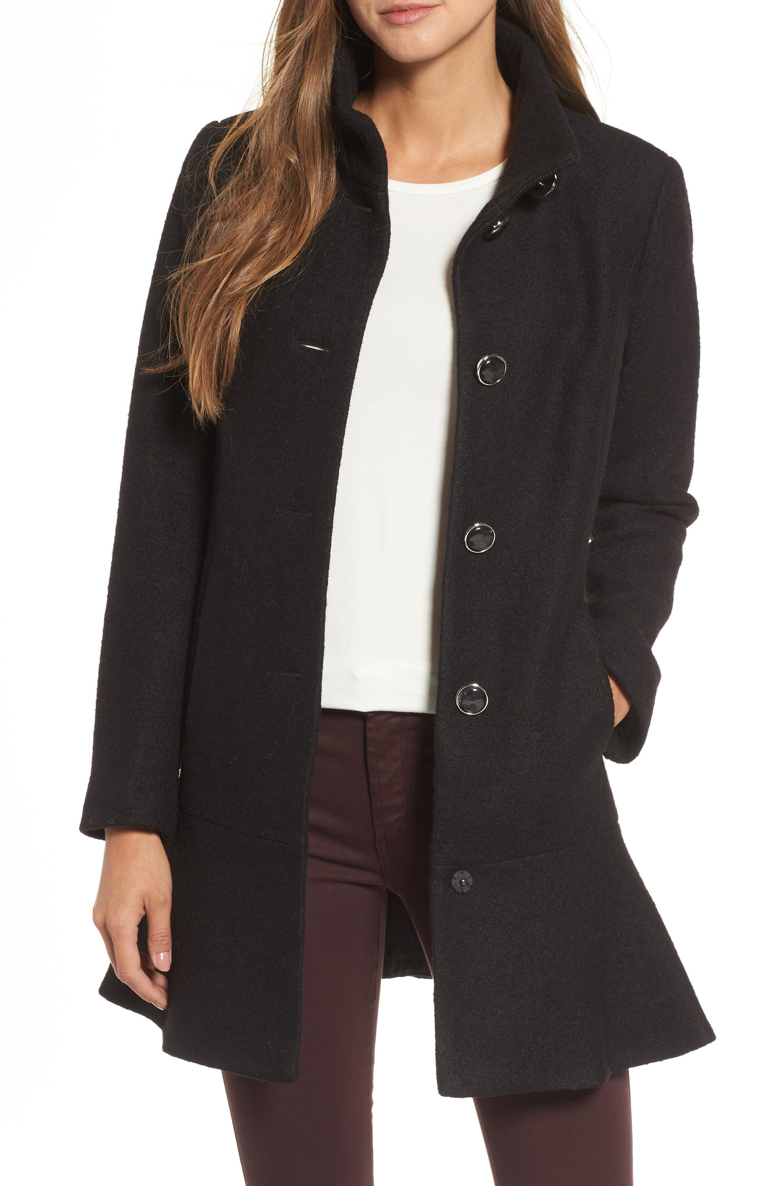 Single Breasted Ruffle Hem Coat,                         Main,                         color, 001