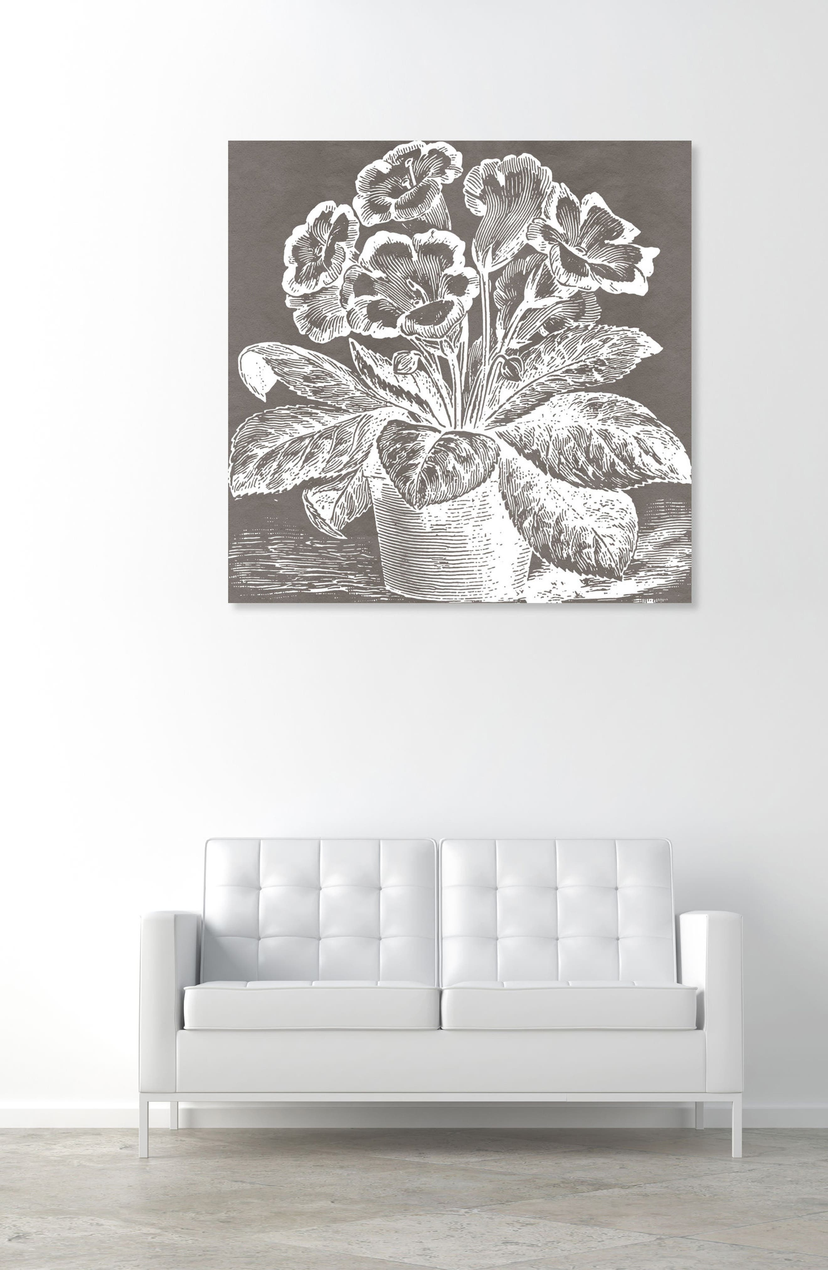 Potted Primrose Canvas Wall Art,                             Alternate thumbnail 2, color,                             GREY