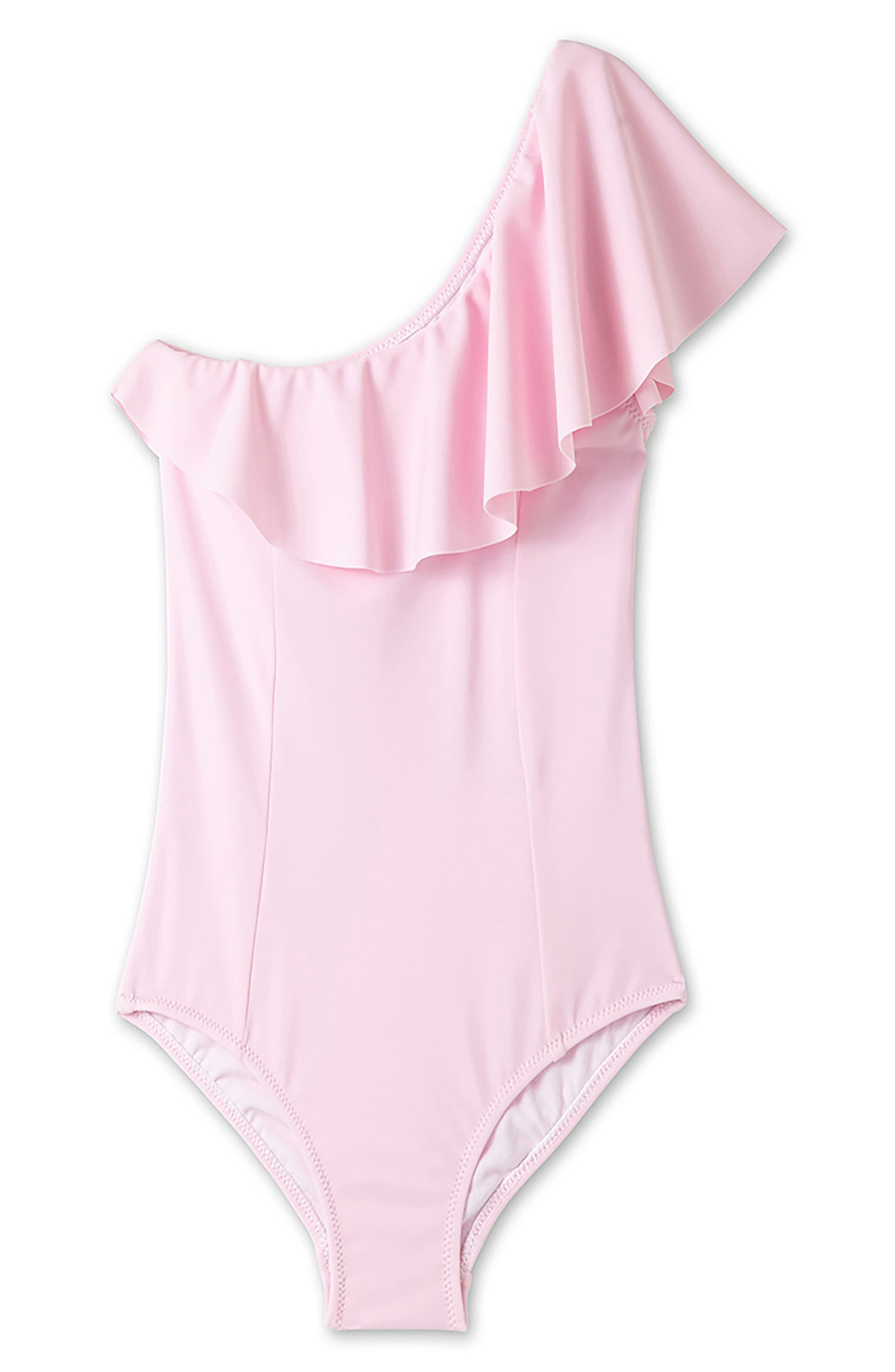 Ruffle One-Piece Swimsuit,                             Main thumbnail 1, color,                             650