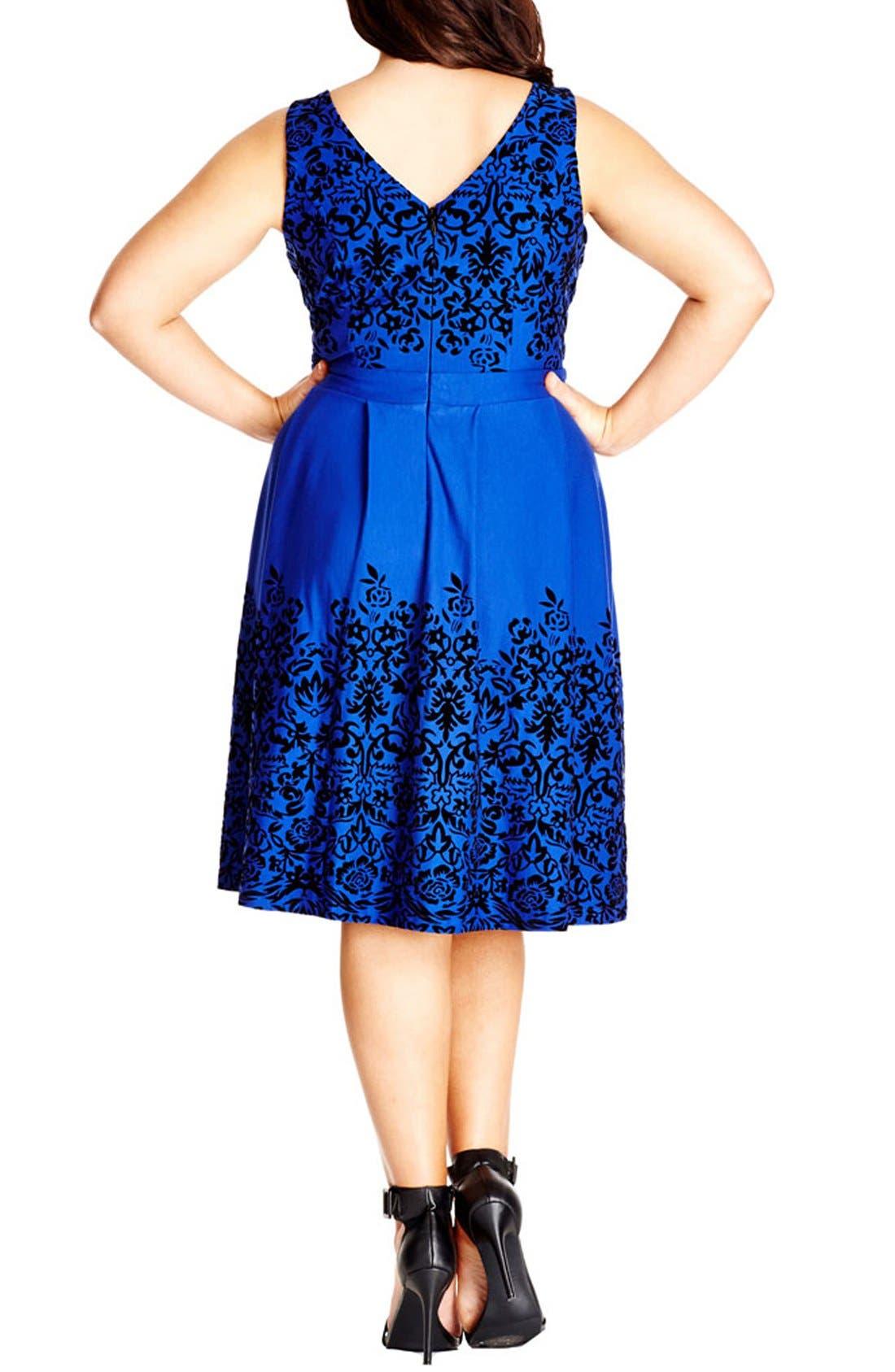 Border Flocked Fit & Flare Dress,                             Alternate thumbnail 2, color,                             FRENCH BLUE