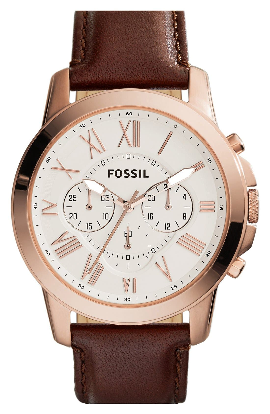 'Grant' Round Chronograph Leather Strap Watch, 44mm,                             Main thumbnail 15, color,