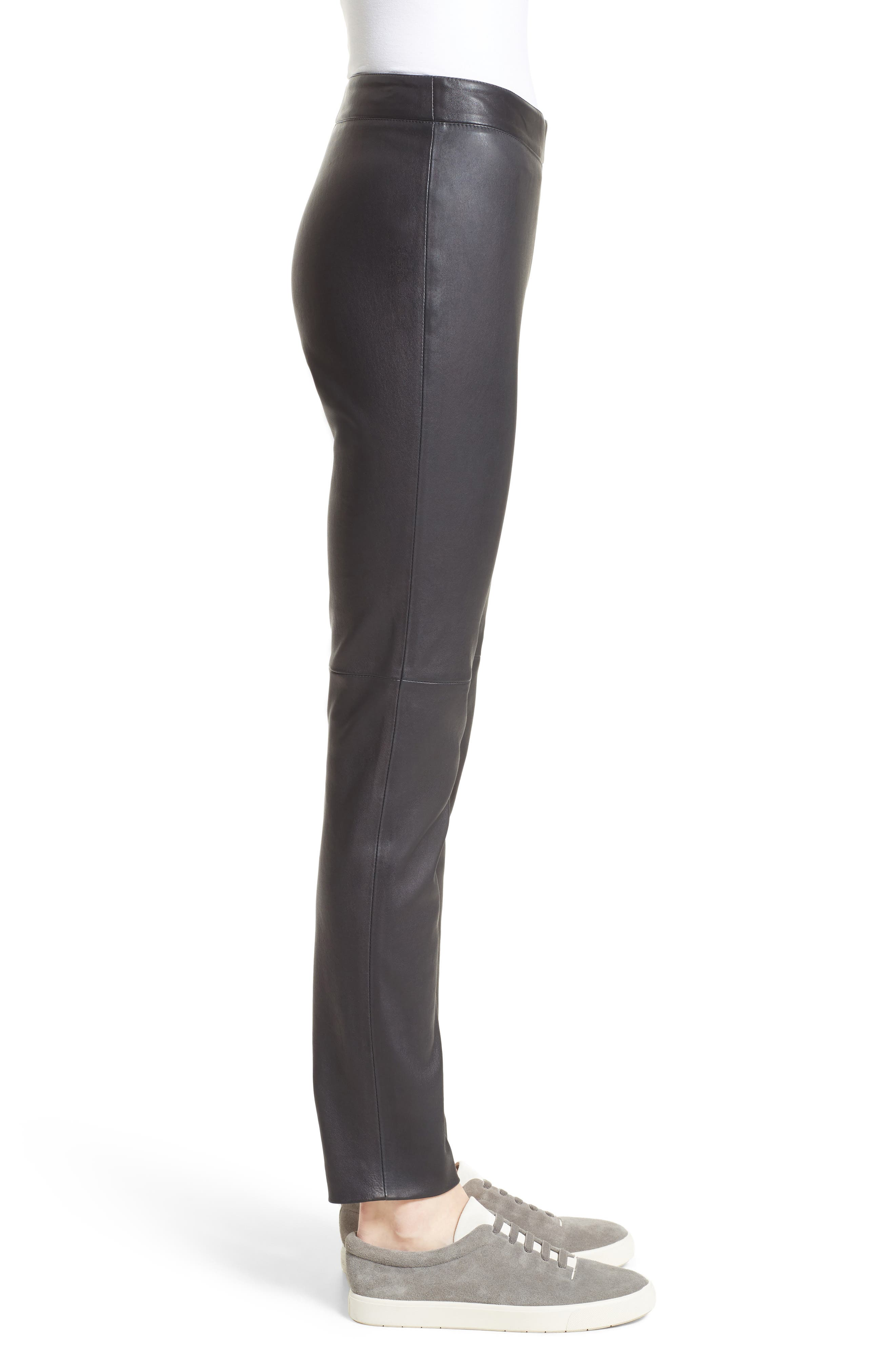 Side Zip Stretch Leather Leggings,                             Alternate thumbnail 3, color,                             001